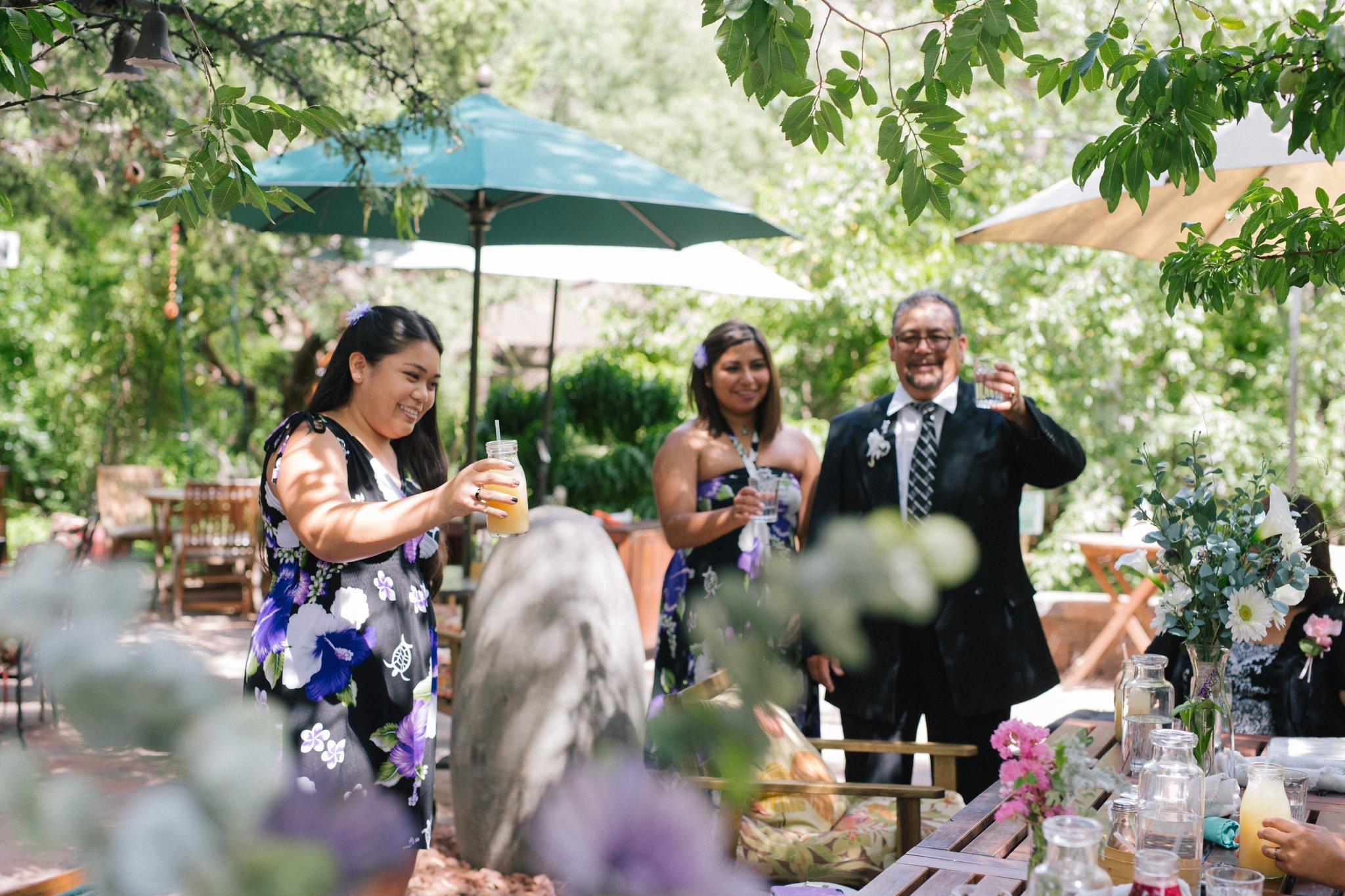 Chocola Tree elopement reception toasting Sedona