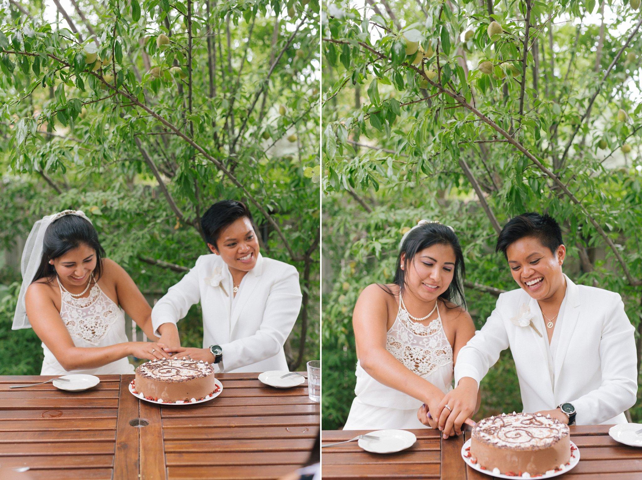 candid natural authentic photography LGBT elopement reception at Chocola Tree restuarant Sedona
