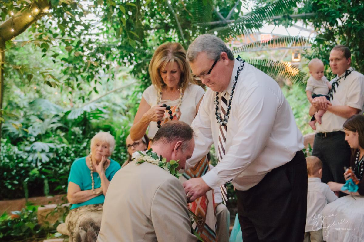Hawaiian tradition family welcoming husband into family placing lei on him