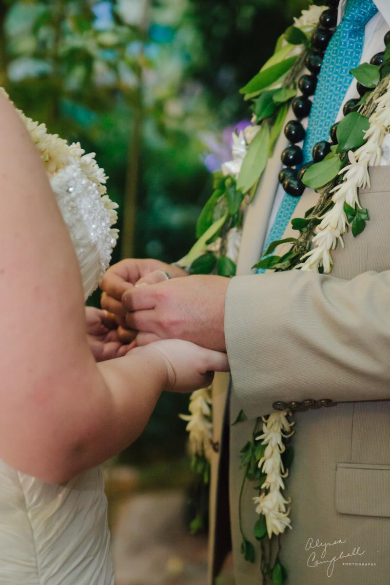 exchanging rings at ceremony at Boojum Tree greenhouse
