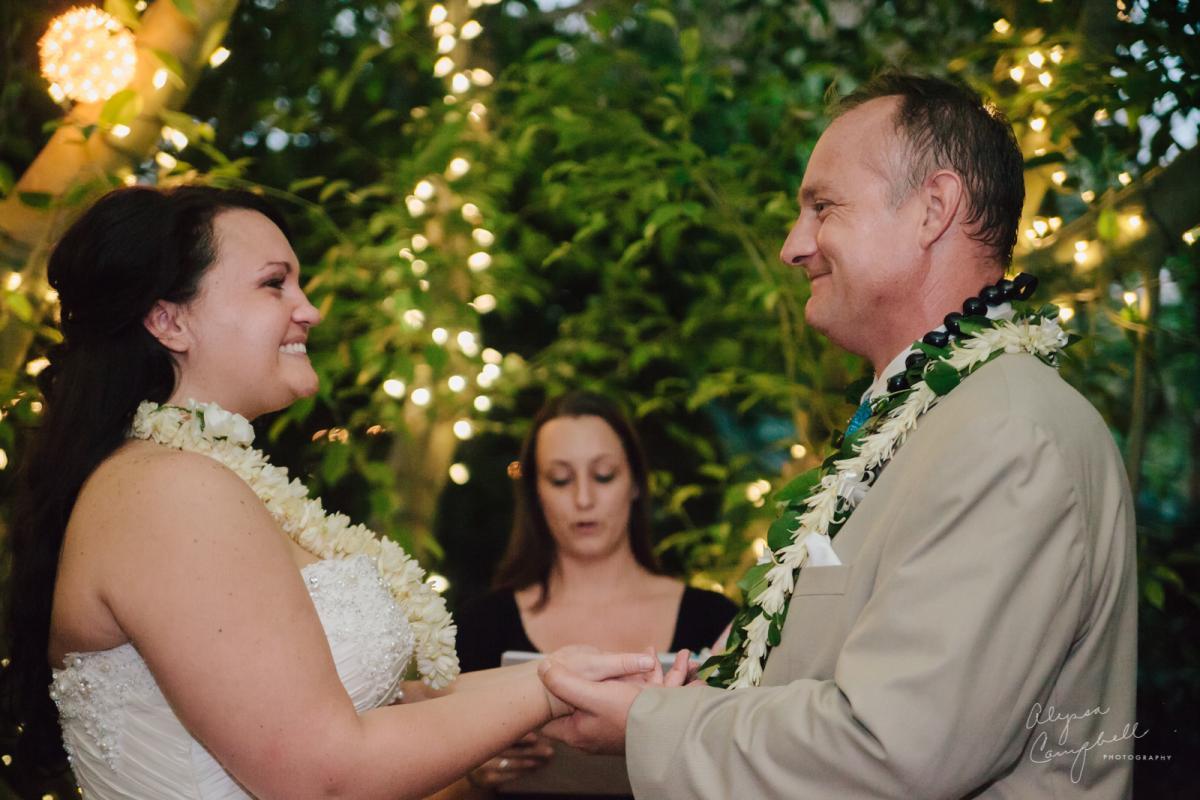 hands ceremony at Boojum Tree Hawaiian elopement