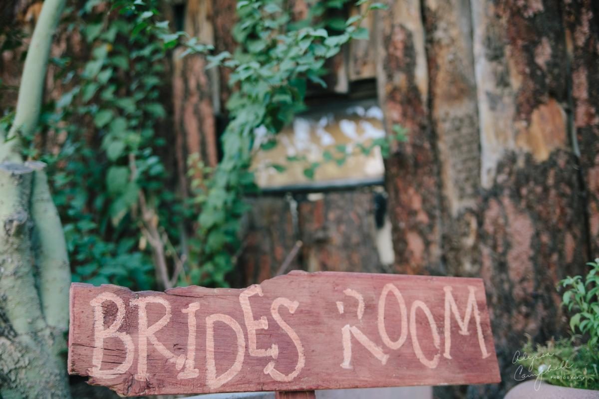 Boojum Tree wedding venue Bride's room sign