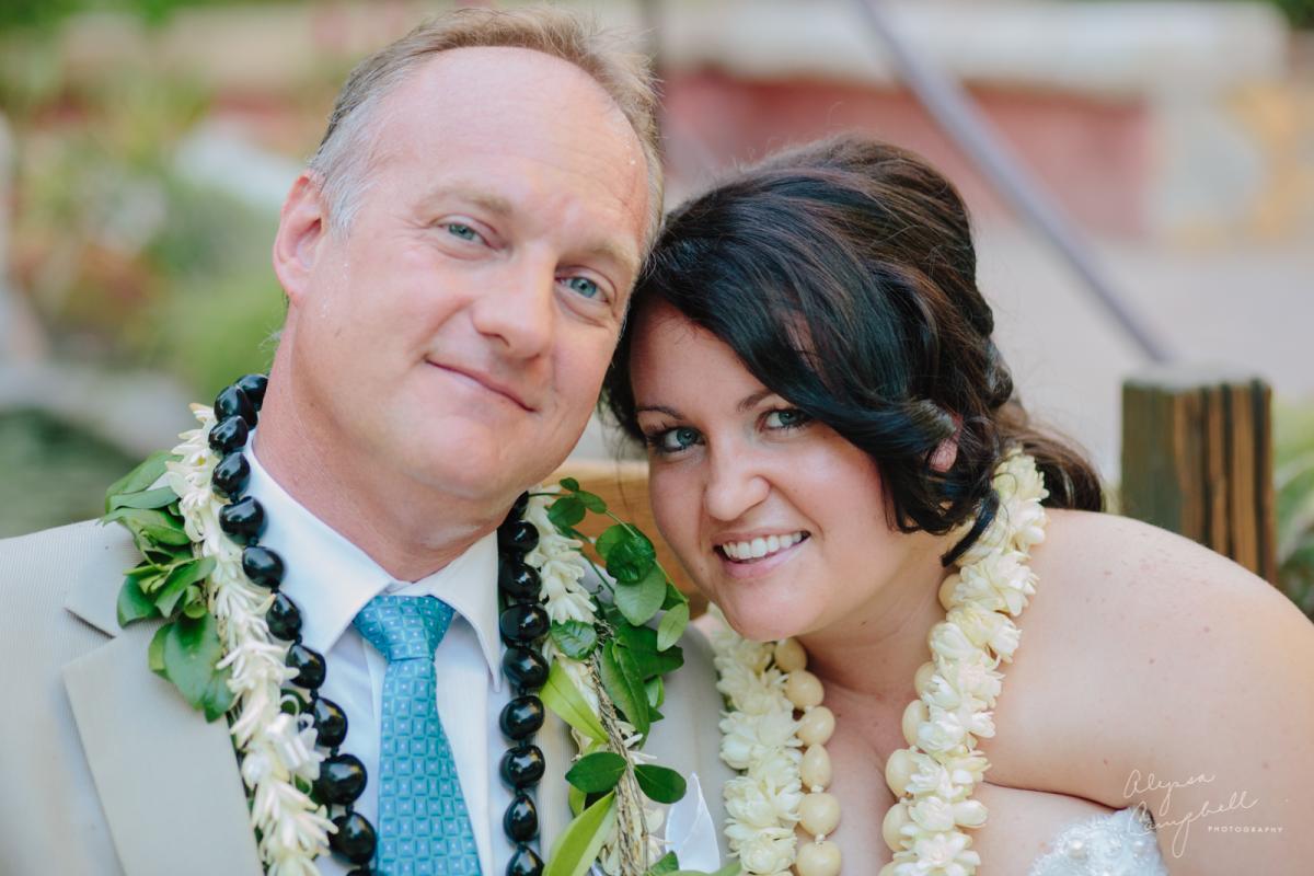 bride and groom at Hawaiian wedding at Boojum Tree in Phoenix