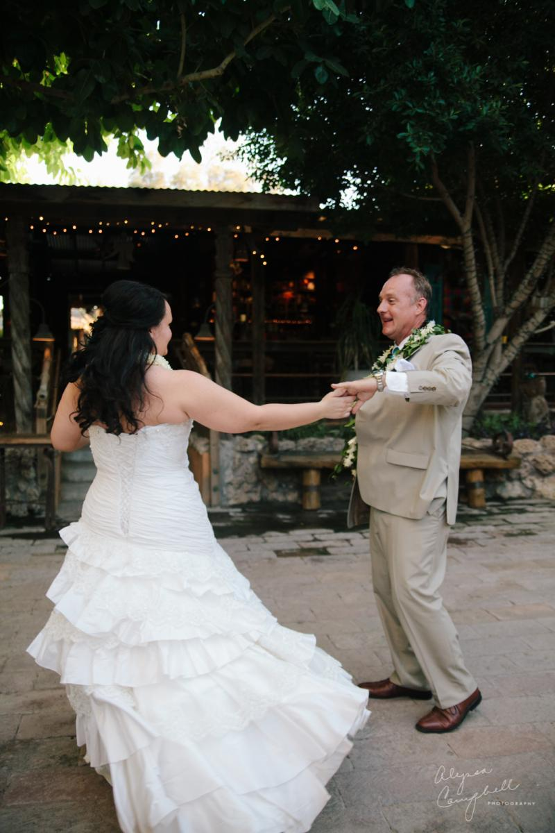 bride and groom dancing together at Boojum Tree elopement