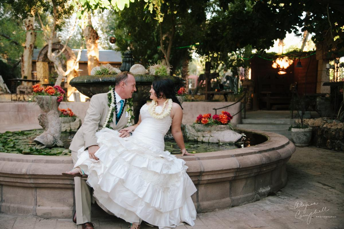 bride and groom flirting sitting on fountain at Boojum Tree Hidden Gardens
