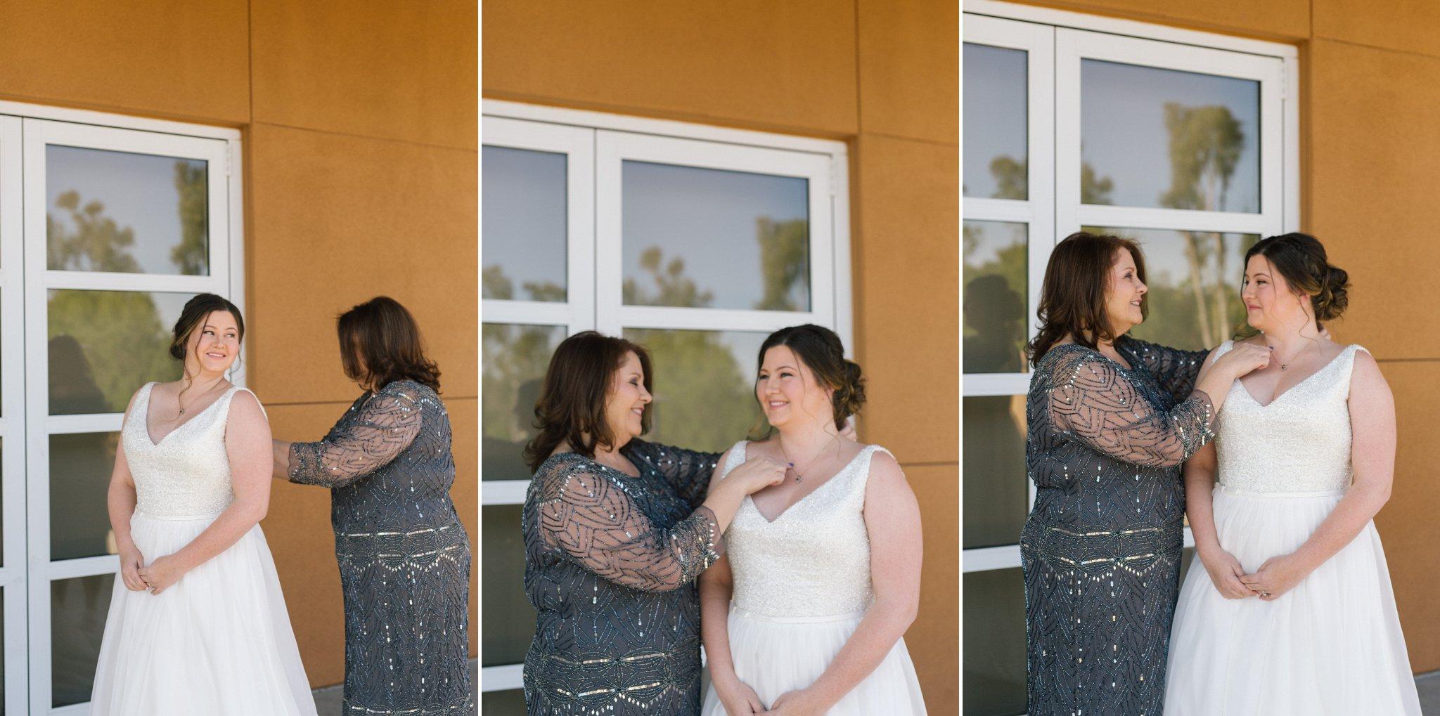 bride getting ready at Phoenix Zoo wedding