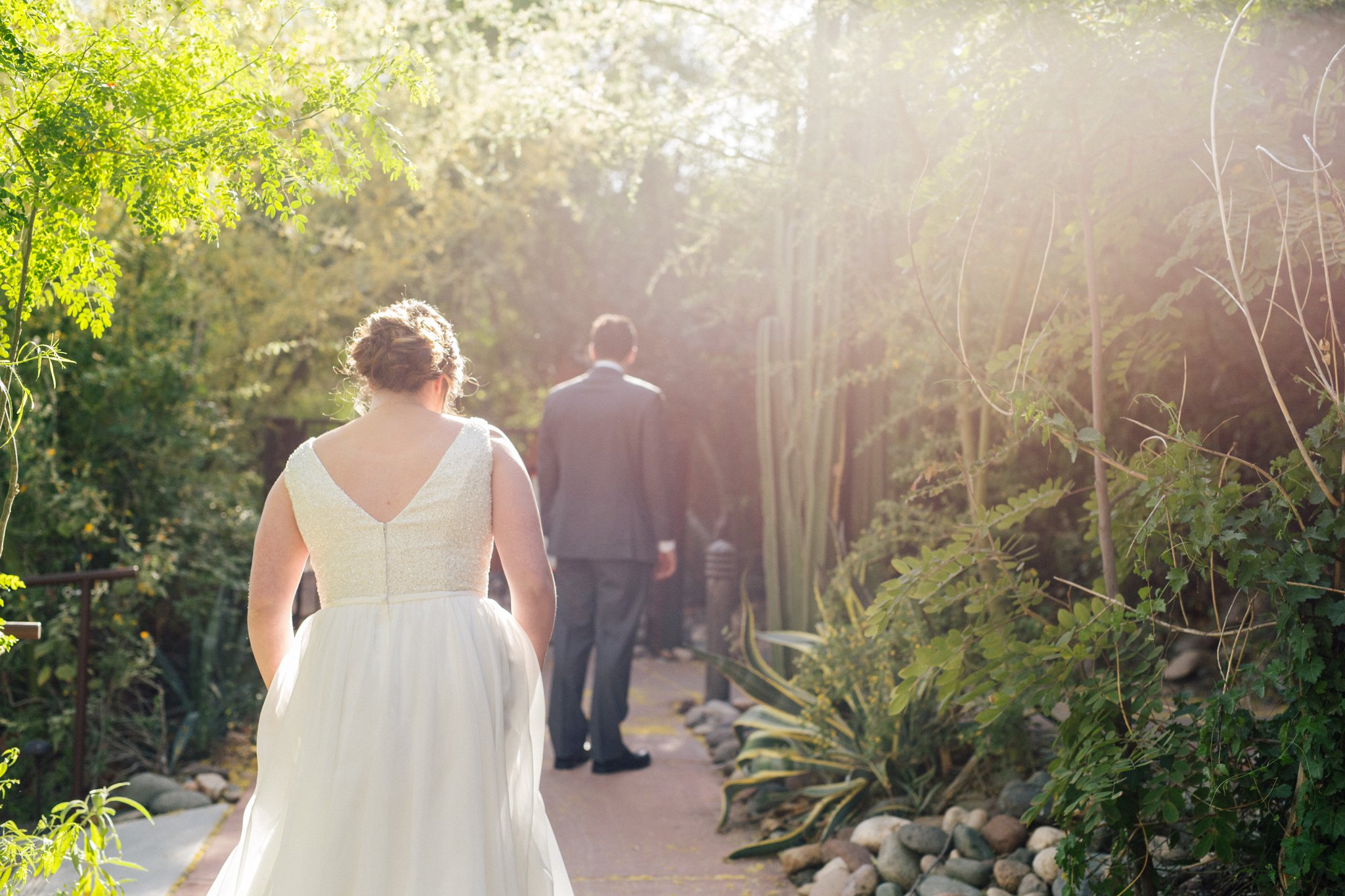 bride & groom first look Phoenix Zoo wedding