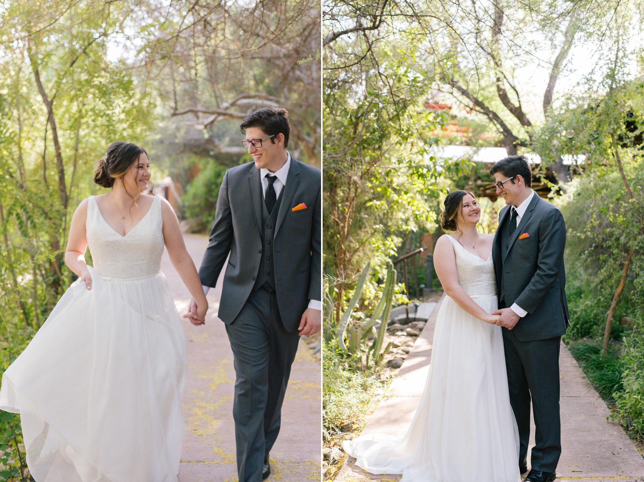 bride & groom at Phoenix Zoo wedding