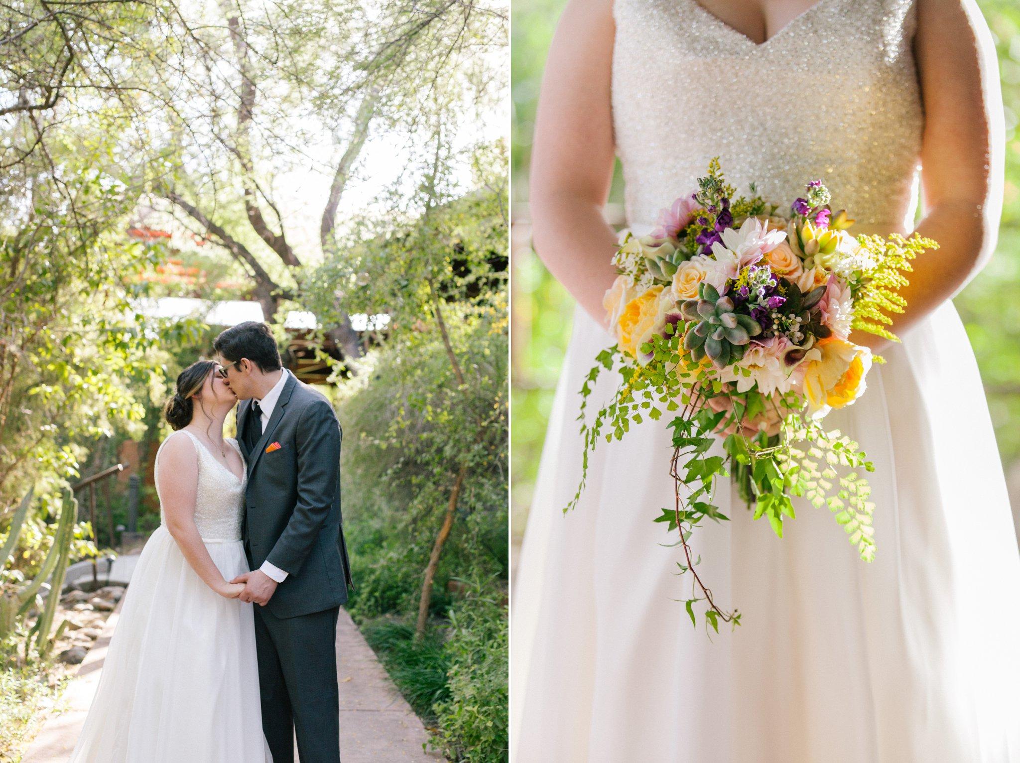 bride & groom at Phoenix Zoo wedding by Alyssa Campbell Photography