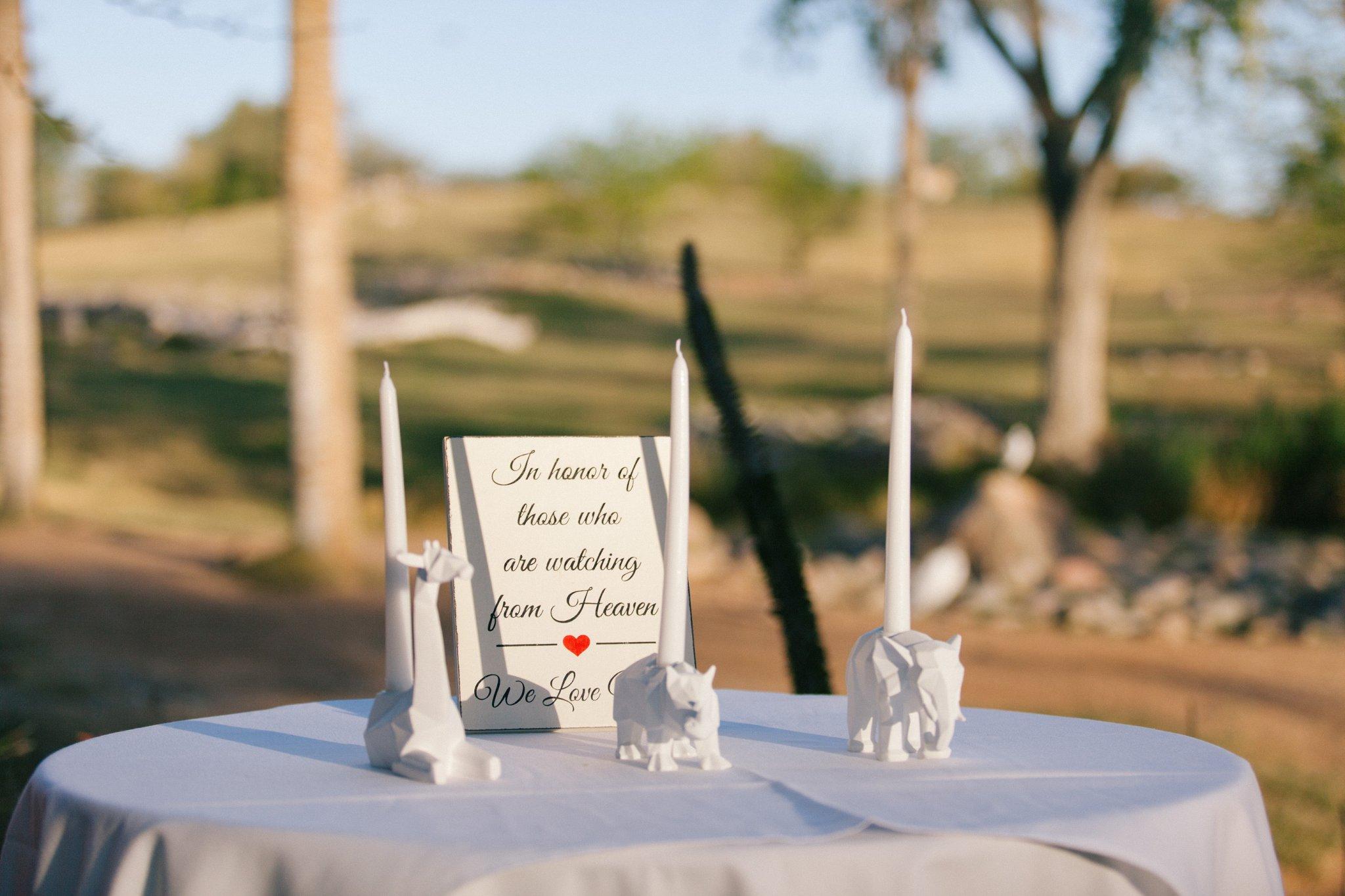 Phoenix zoo wedding rememberance candles
