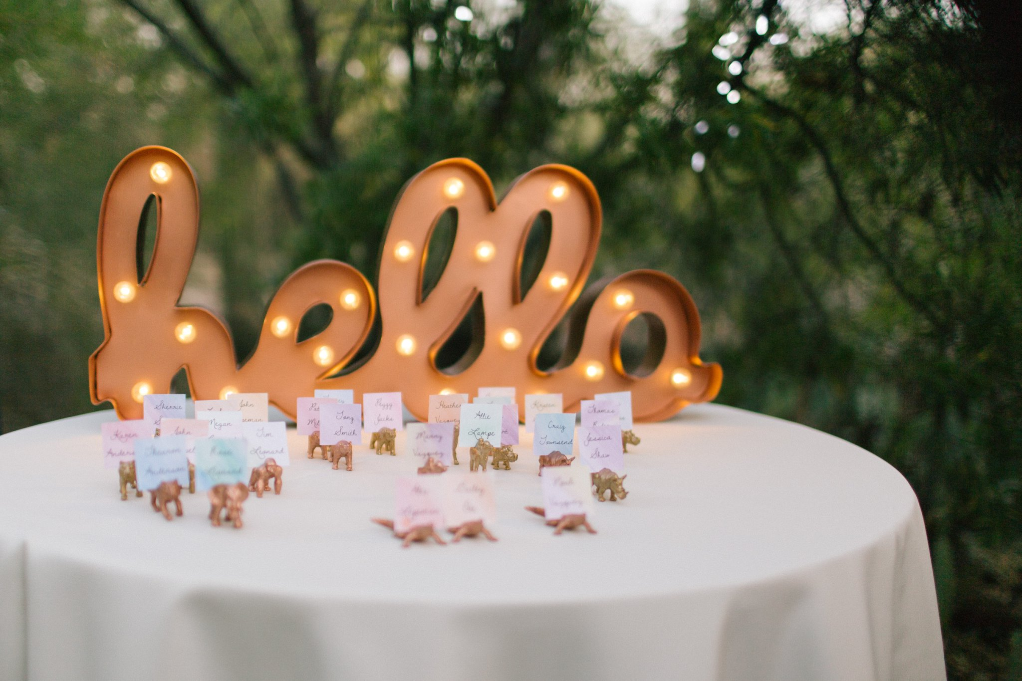 hello lighted marquee sign with spraypainted toy animal table numbers at Phoenix Zoo wedding