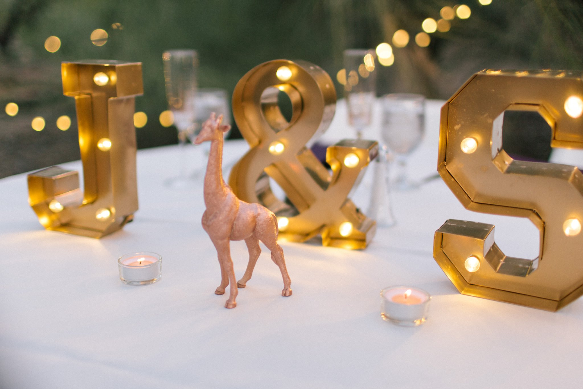 marquee initial lights and gold animals on sweetheart table at Phoenix Zoo wedding