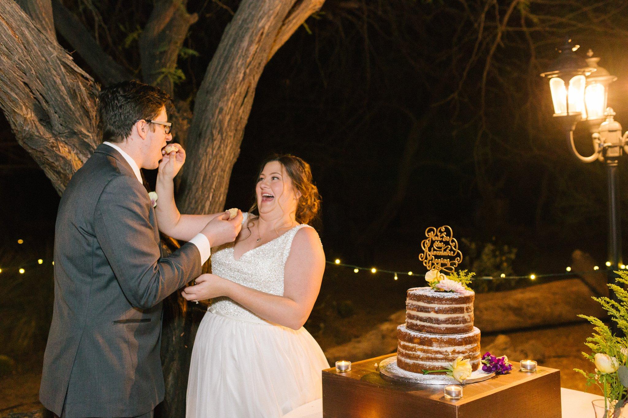 cake cutting at Phoenix Zoo wedding
