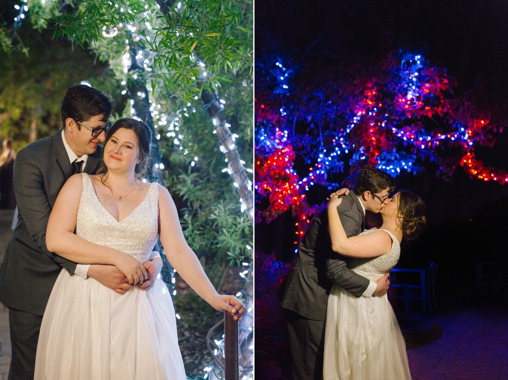 night time bride & groom portraits at Phoenix Zoo