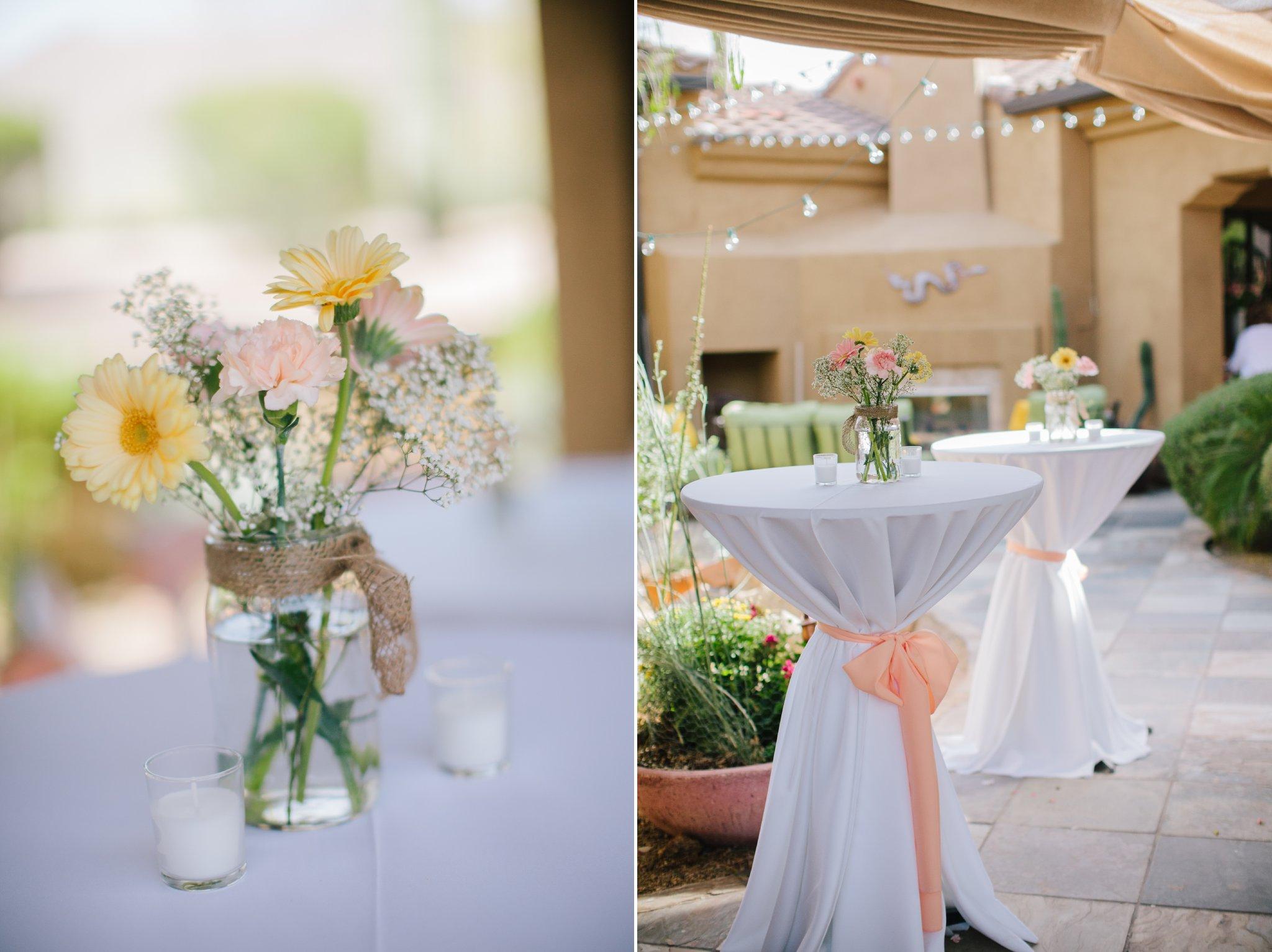 Arizona backyard wedding simple floral centerpieces daisies & baby's breath with burlap ribbon