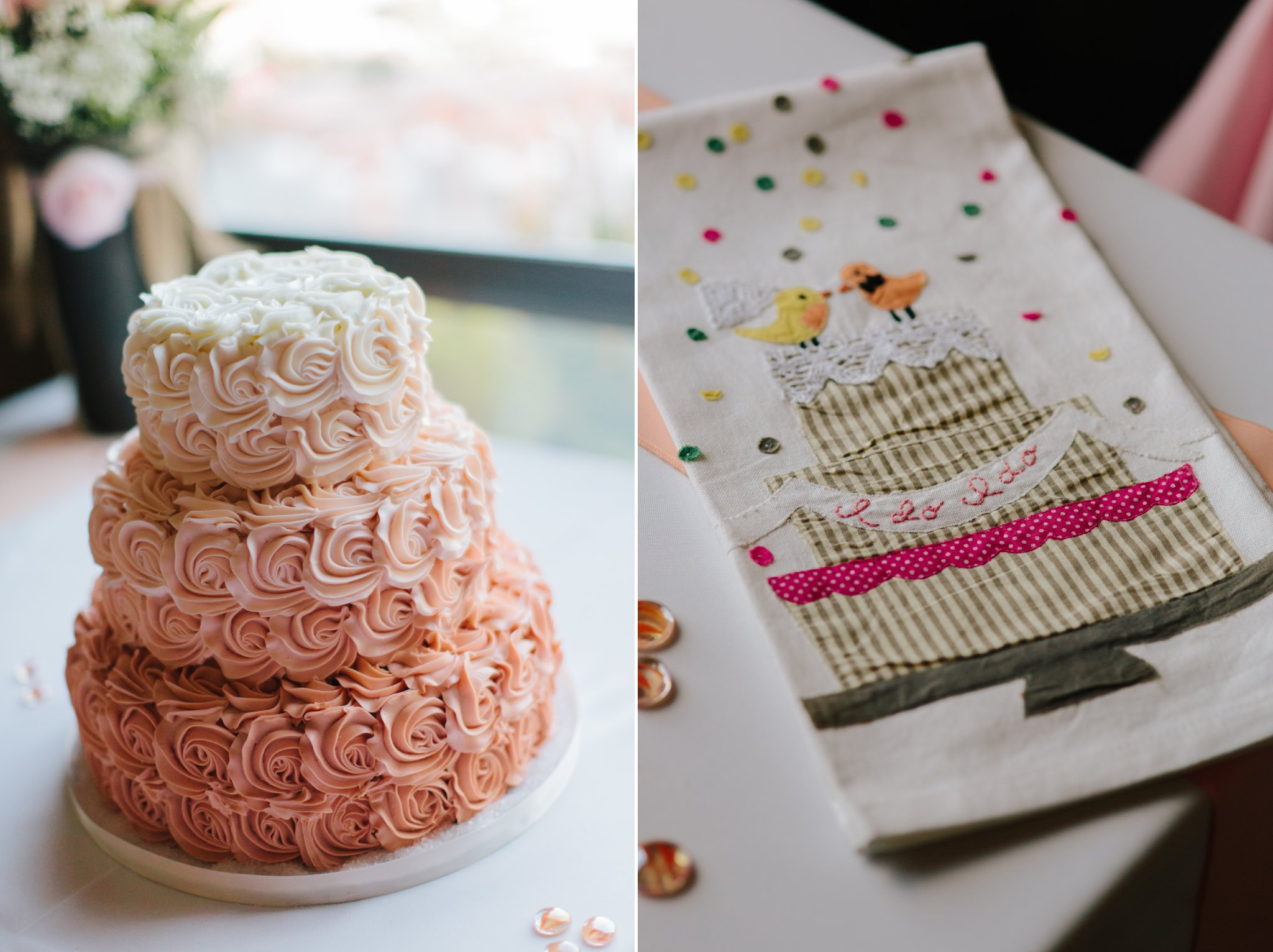 peach ombre cake with rose frosting