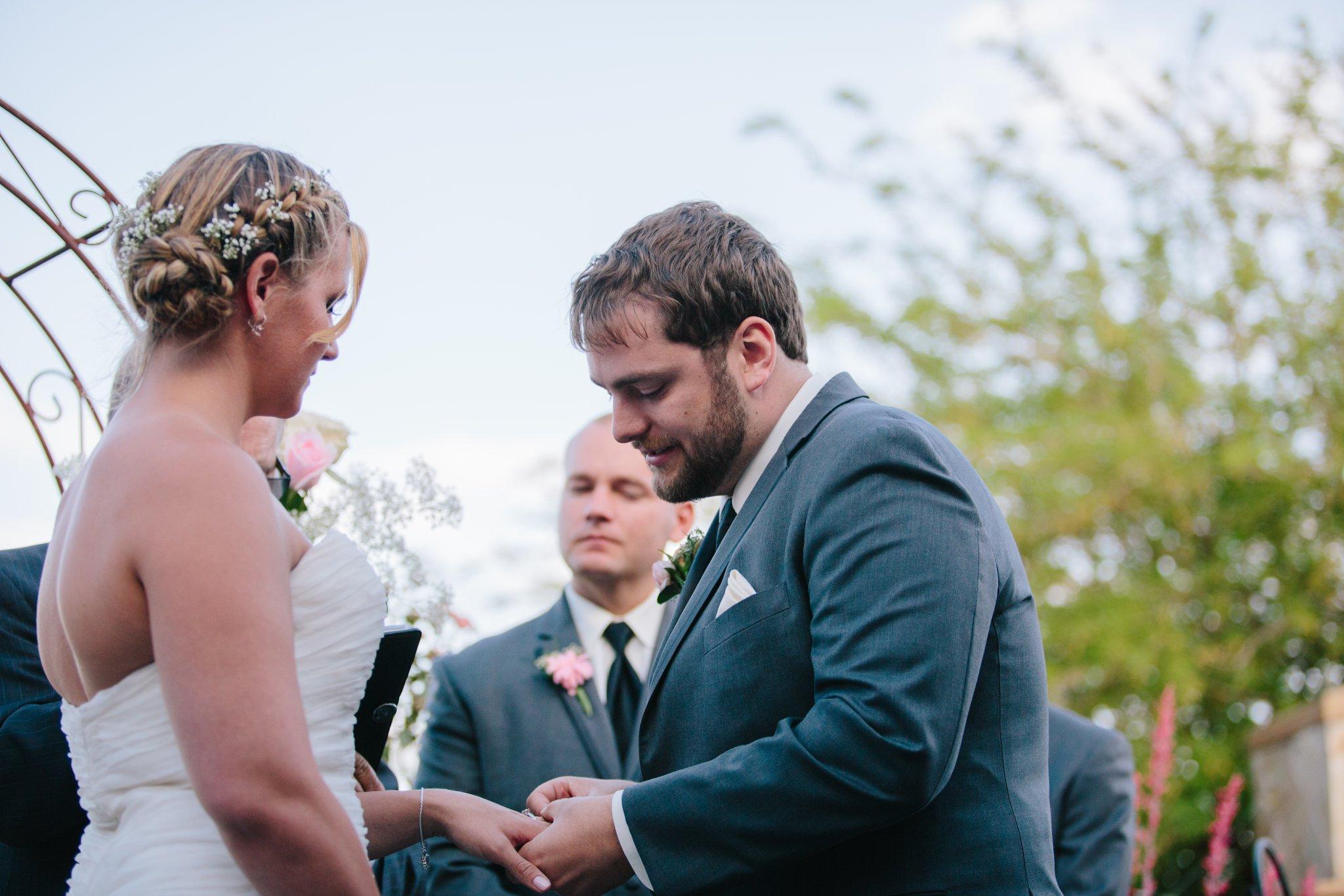 Arizona backyard wedding groom emotional vows