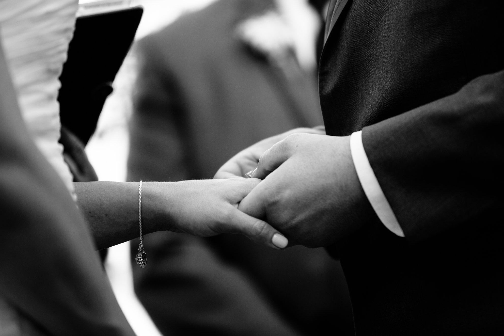 ring exchange at Arizona backyard wedding in Mesa