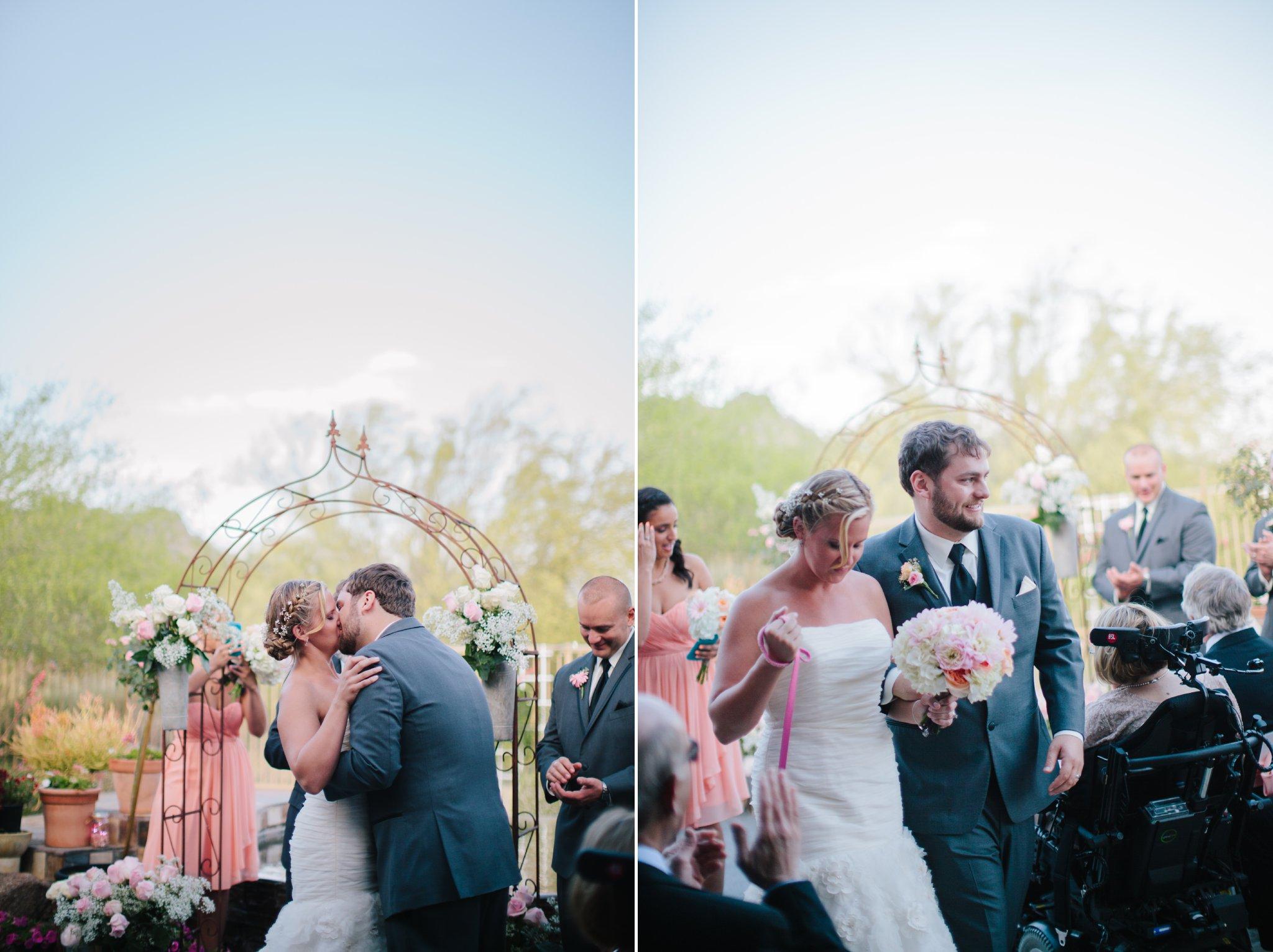 first kiss at Mesa Arizona backyard wedding