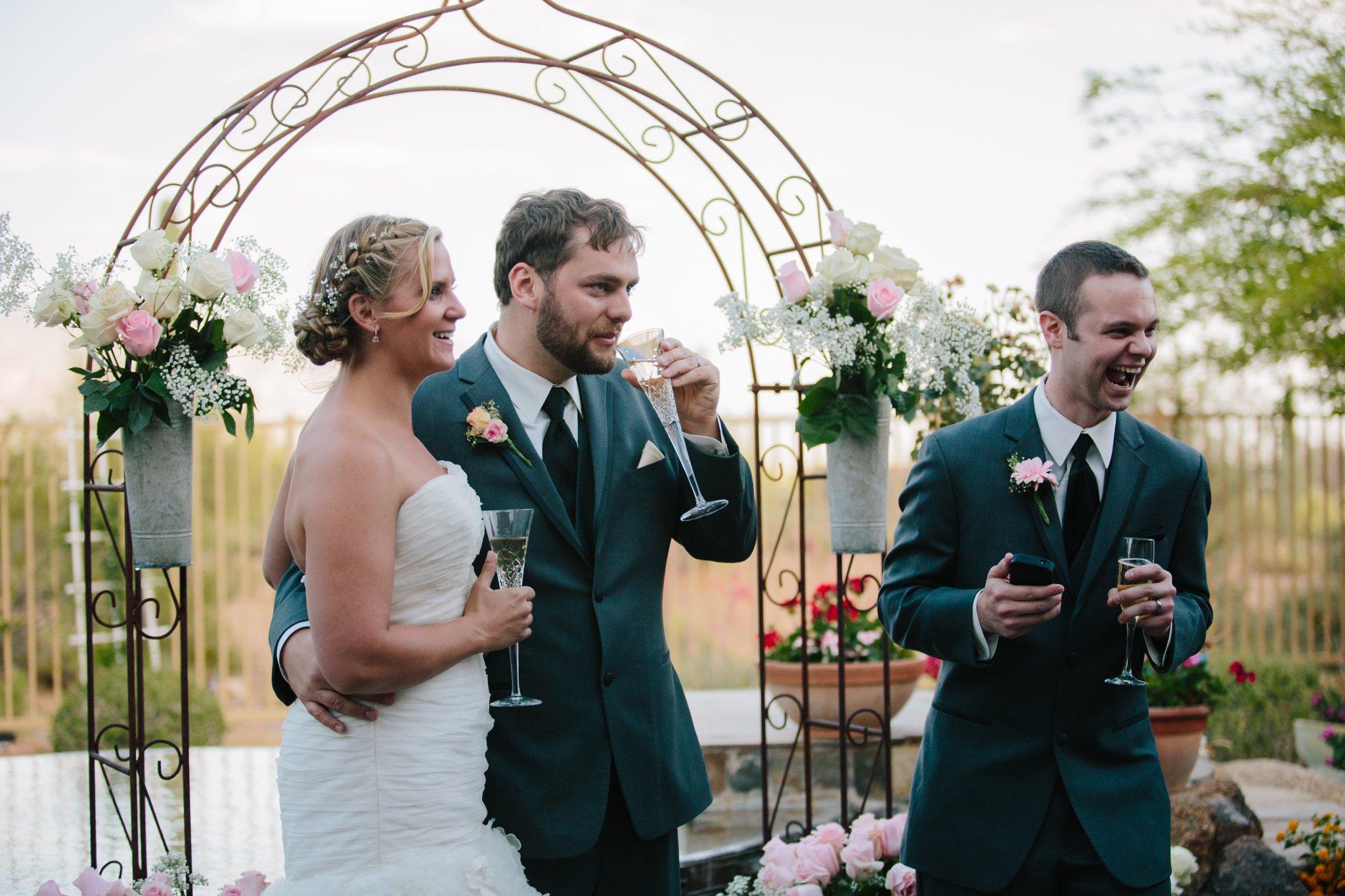 best man making toasts backyard AZ wedding