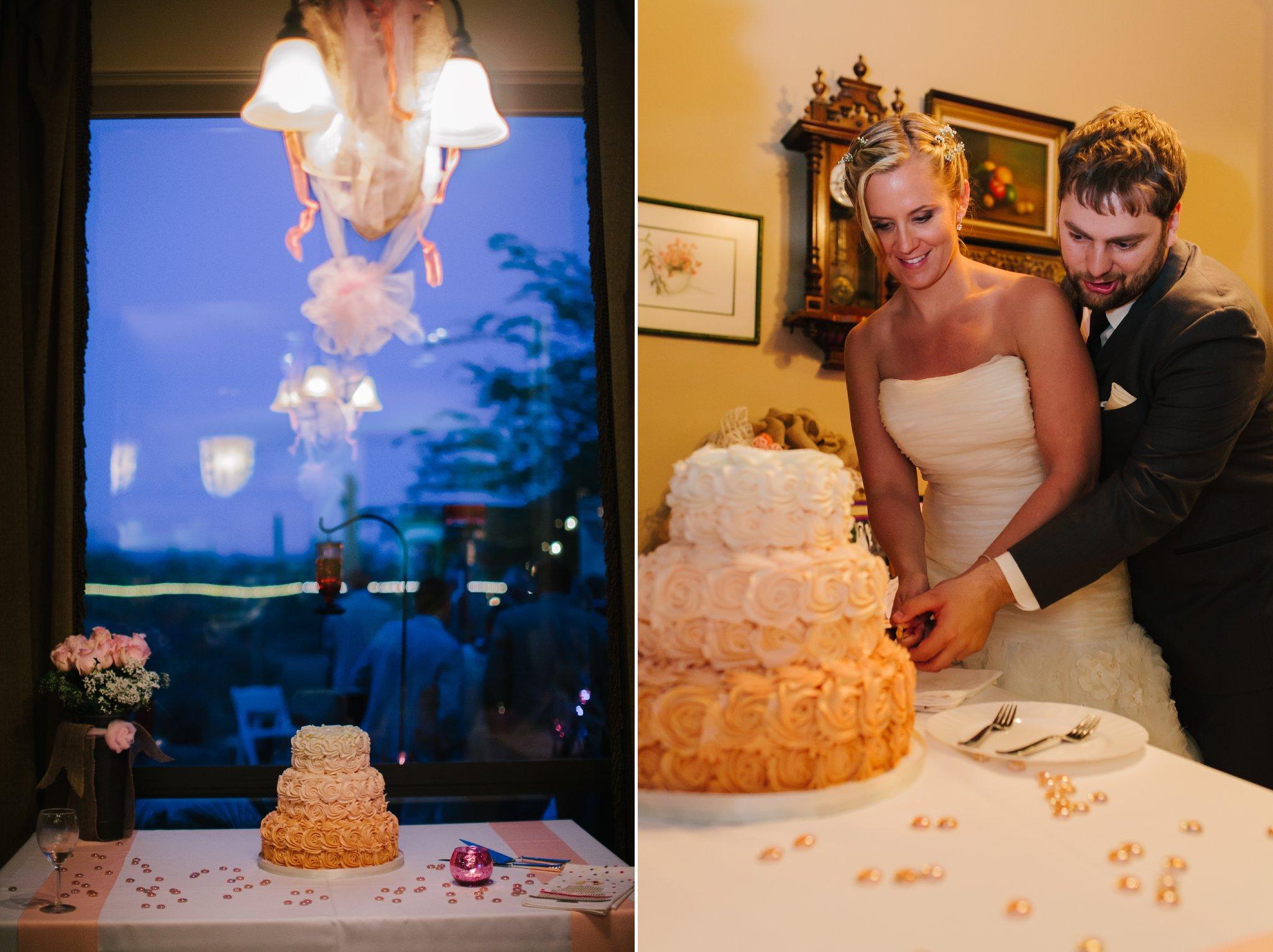 Mesa backyard wedding cake cutting