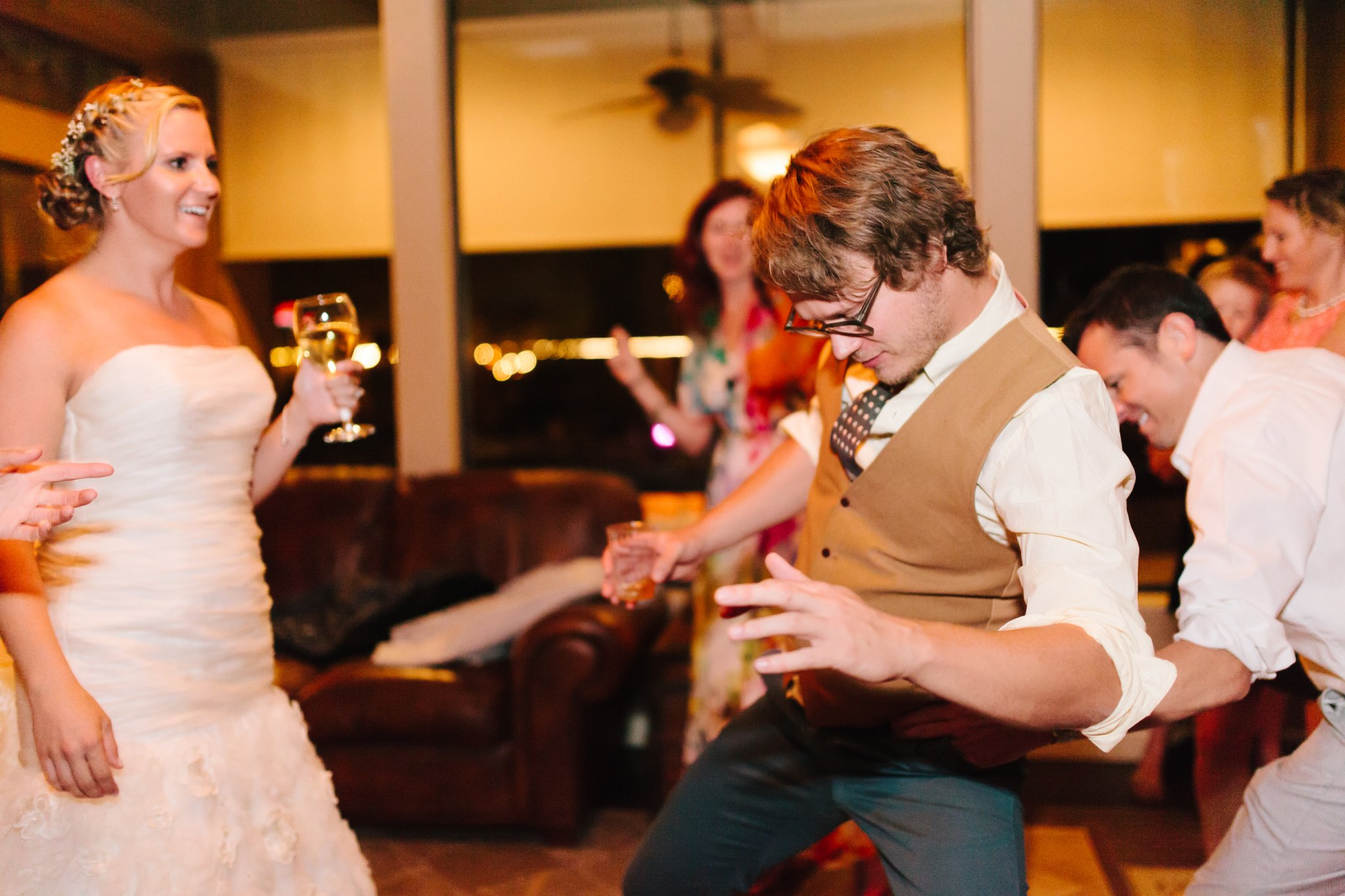dancing inside home in East Mesa wedding