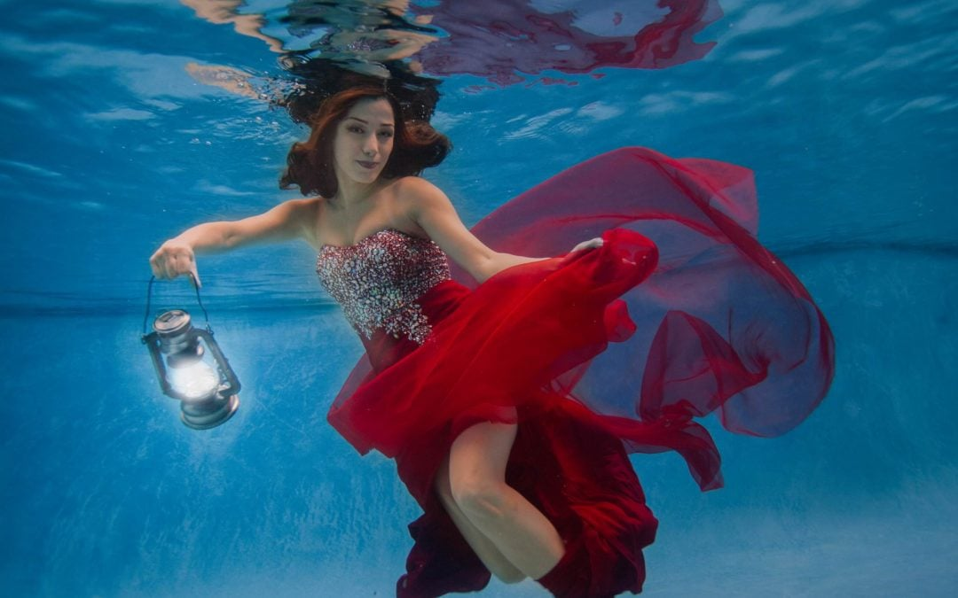 Underwater Fashion Portraits in a Red Dress | Bahar