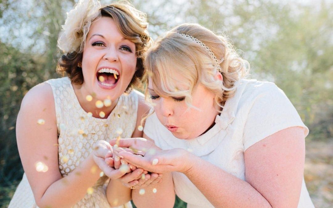 Gold & Glitter DIY Same Sex Wedding at Foothills Christian Church Phoenix AZ | Crystal & Wendi