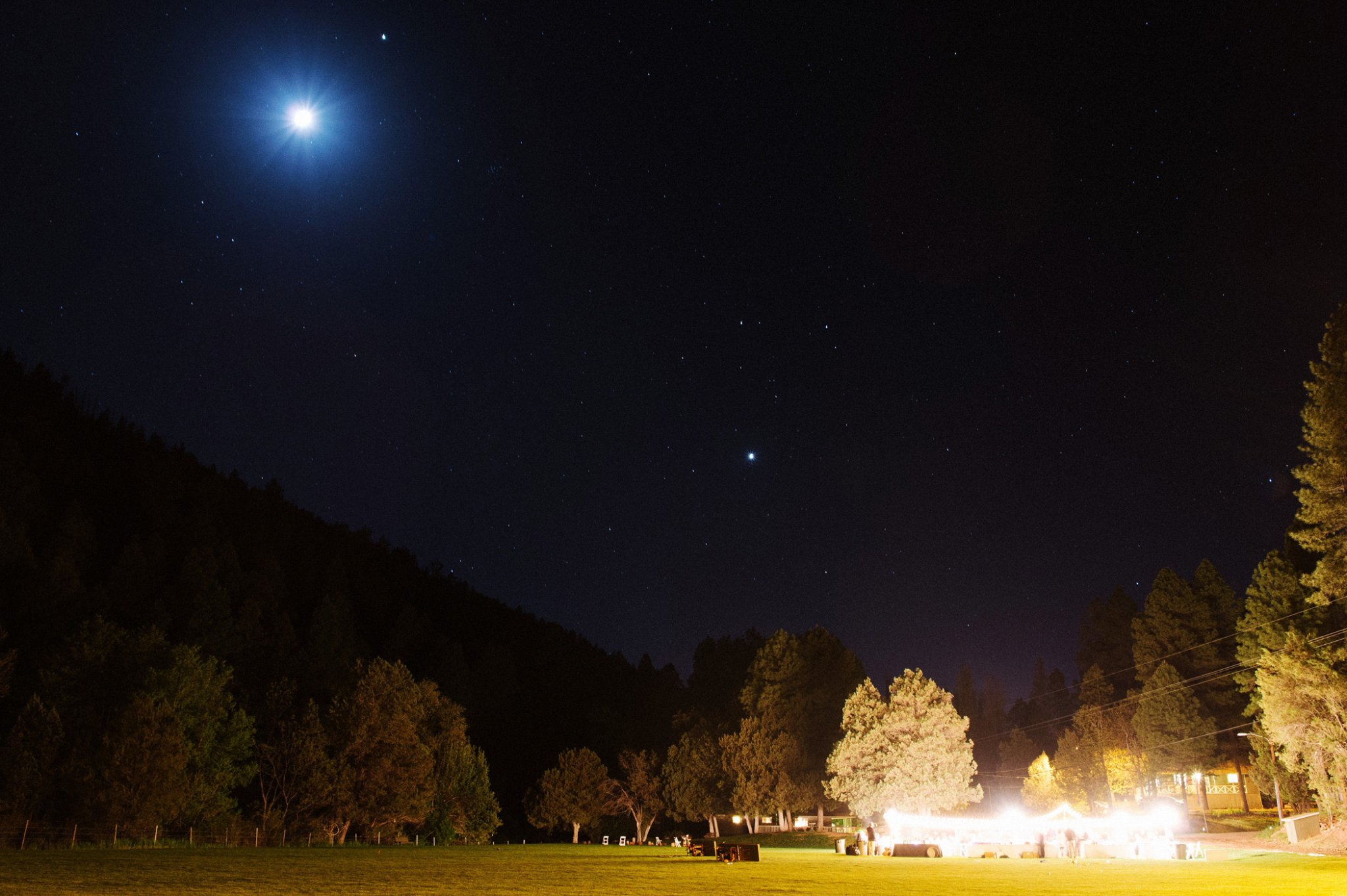 Tonto Creek Camp reception outdoors at night
