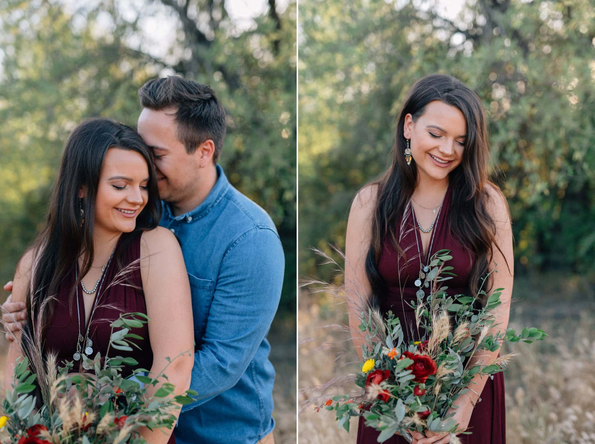 Arizona elopement red dress boho style
