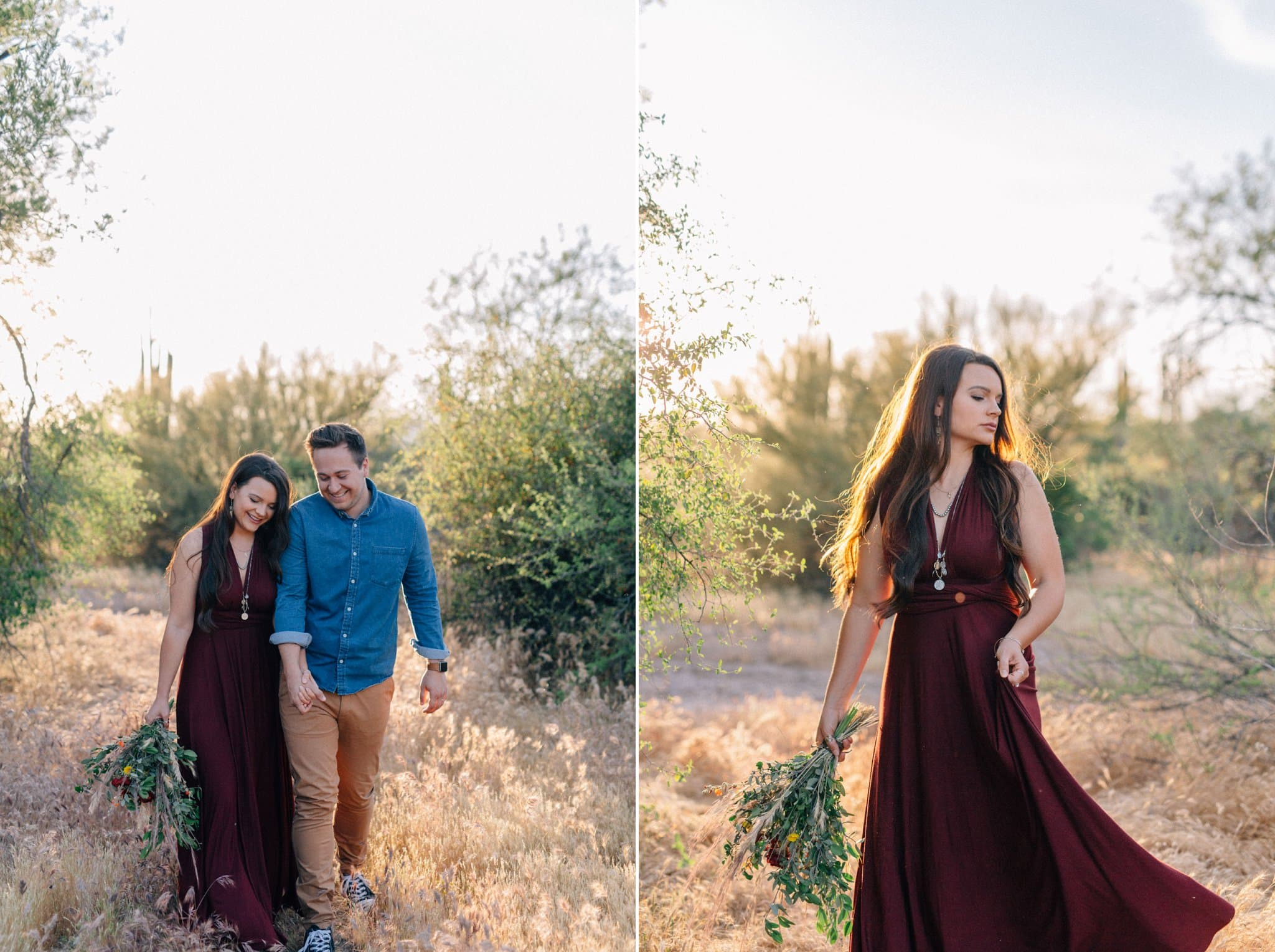 Arizona desert boho elopement red dress