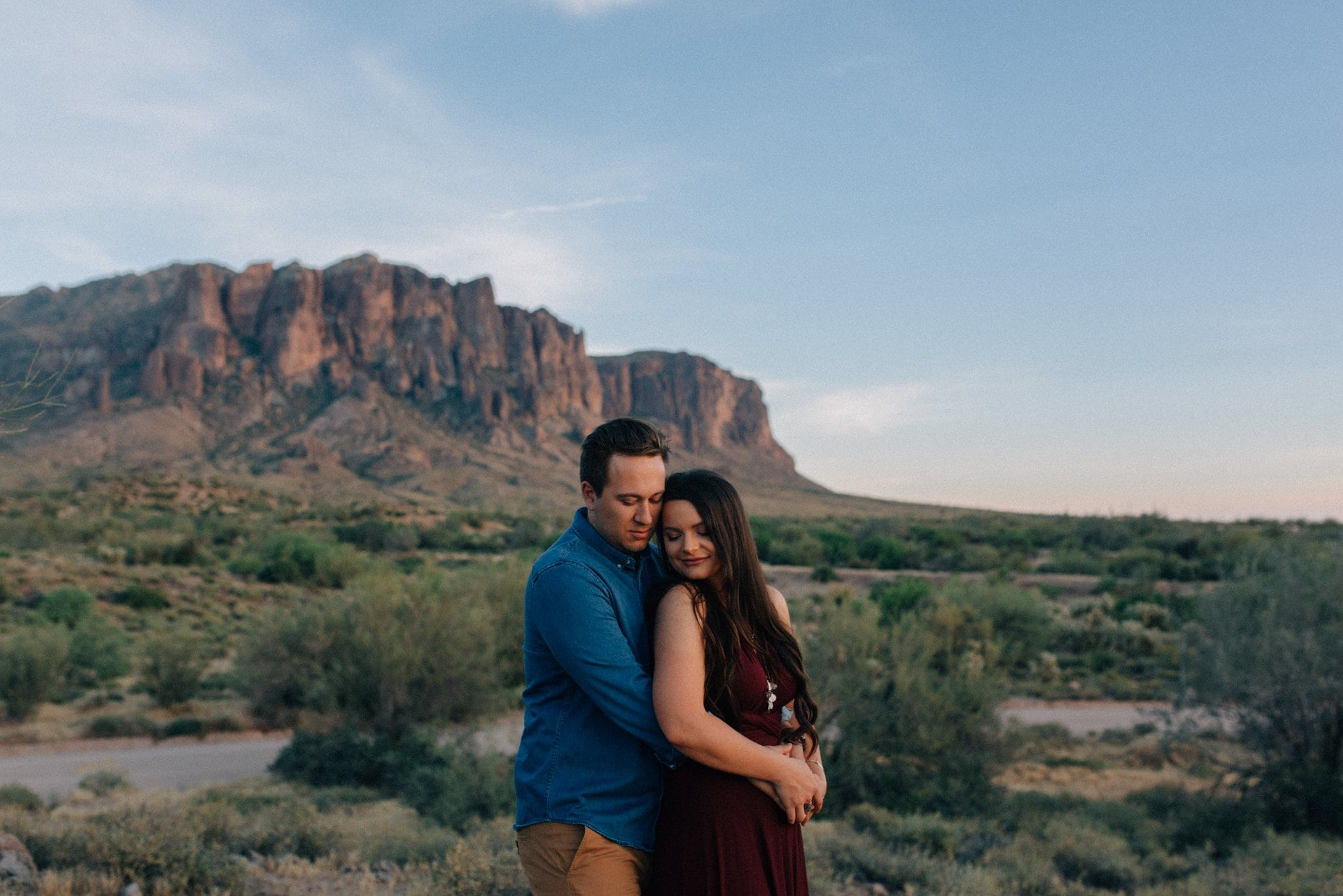 Arizona boho elopement alternative red dress