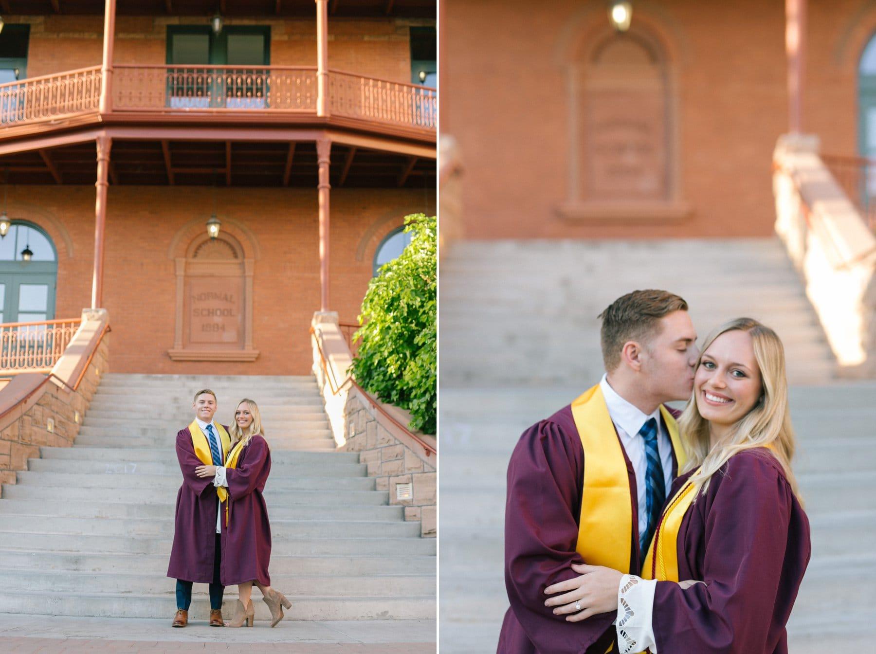 Arizona State University graduates at Old Main engaged