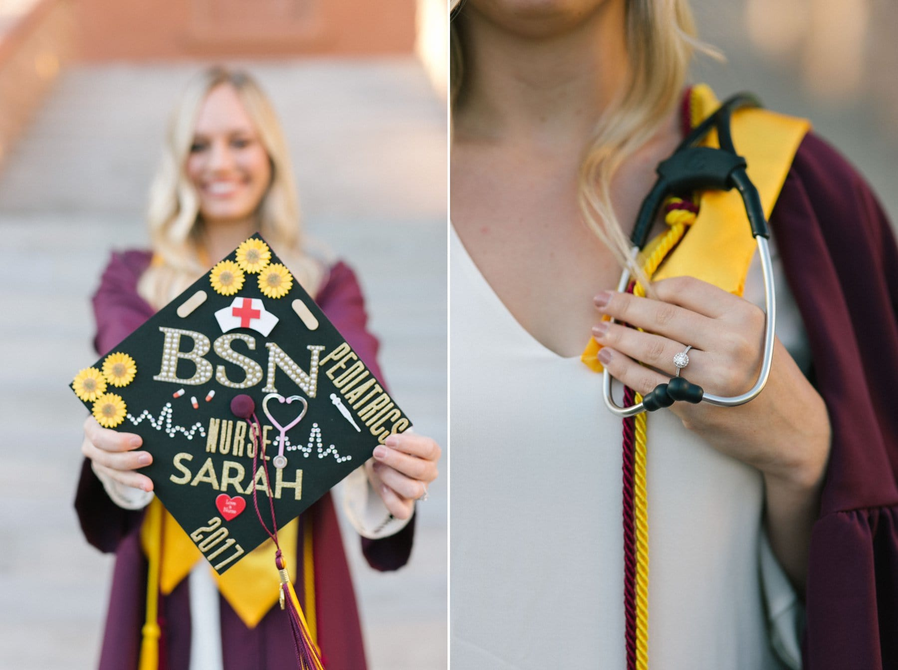 Arizona State University nurse decorated cap with engagement ring