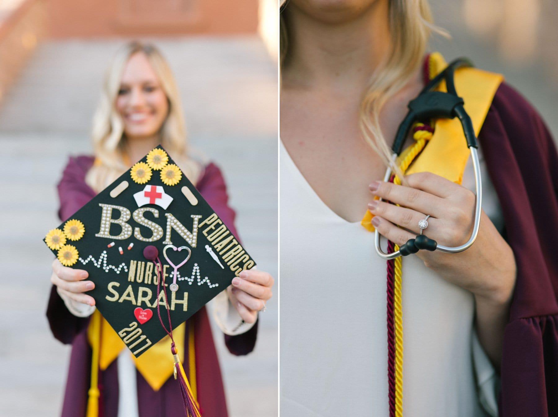 Arizona State University nurse decorated cap with engagement ring