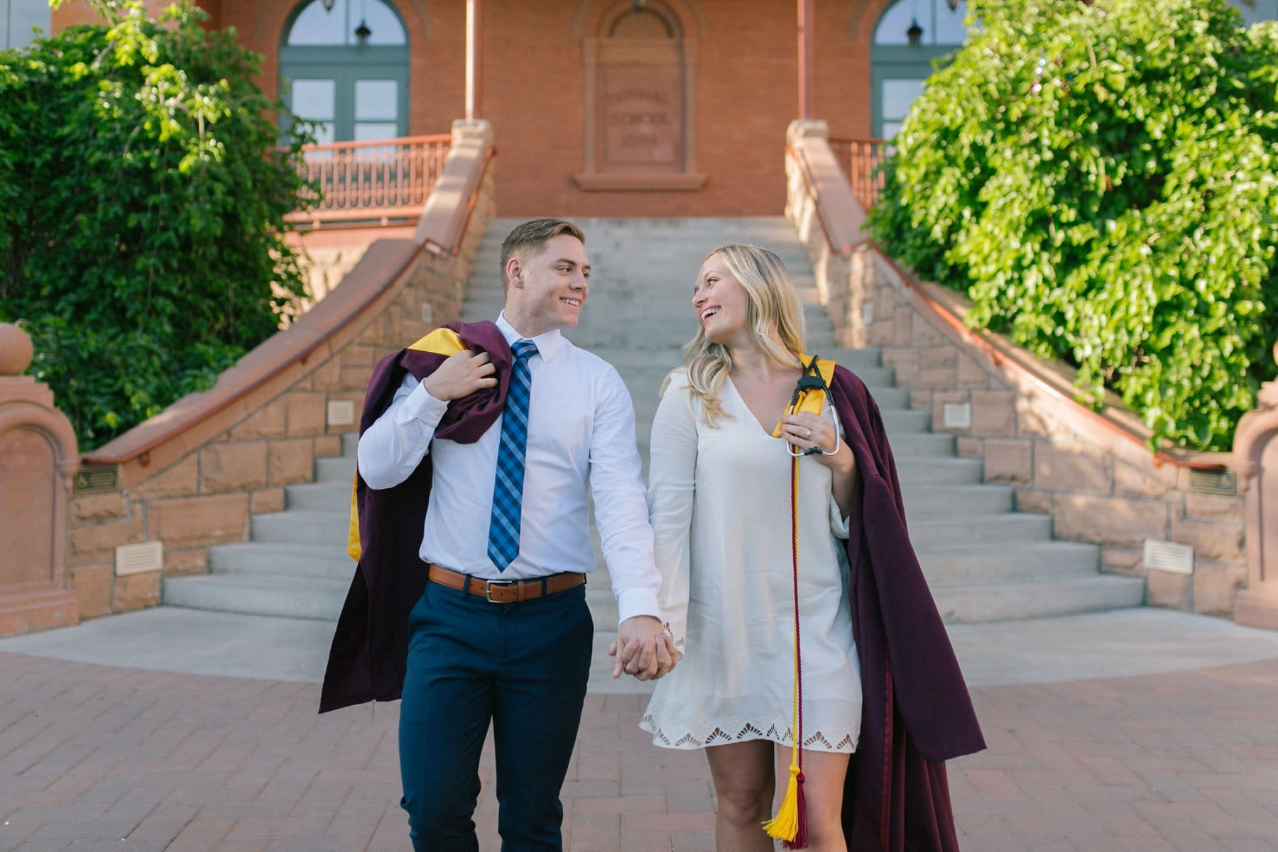 Old Main Tempe Arizona State University engaged couple graduation photos