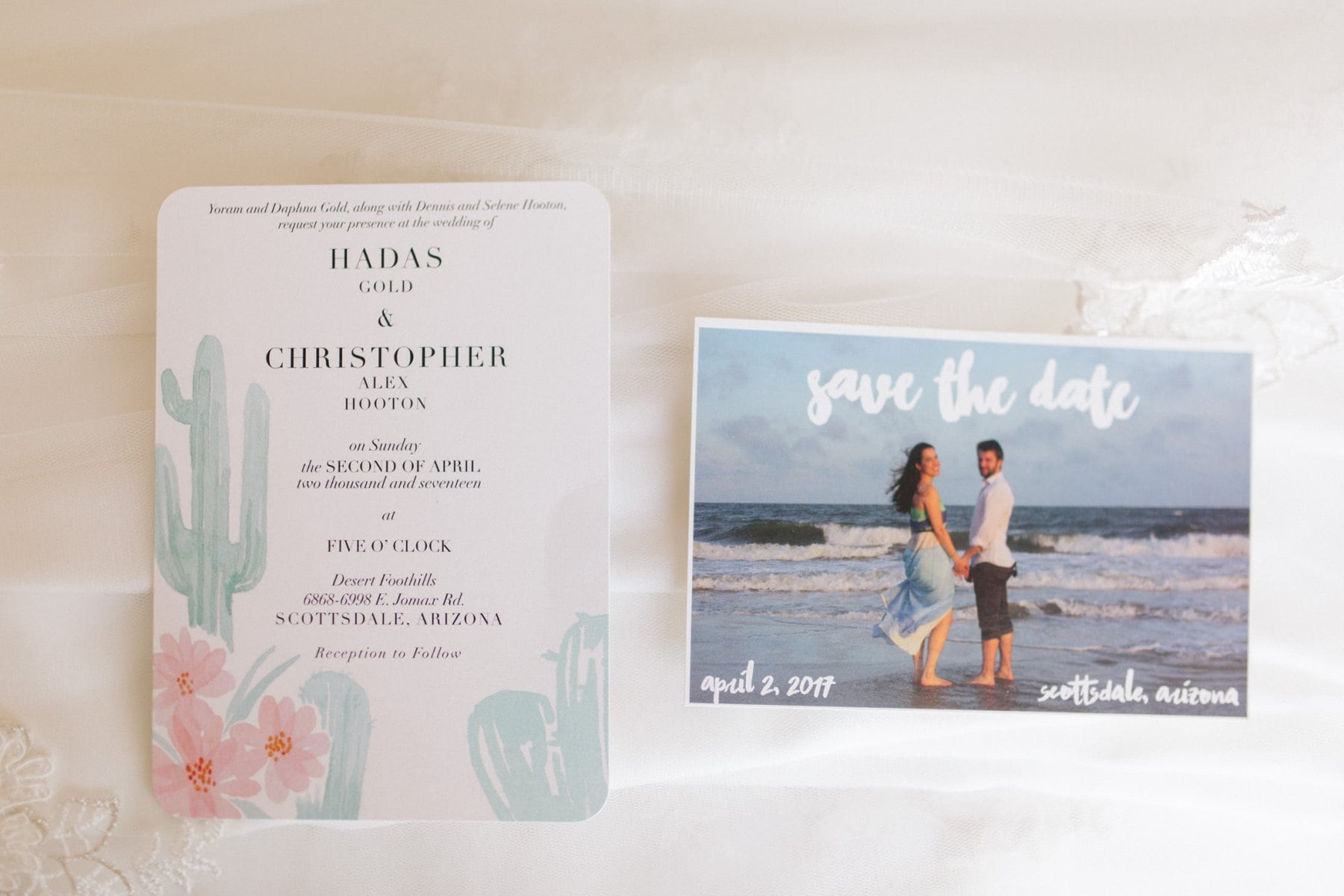 classic watercolor inviation with cactus and flowers Arizona wedding