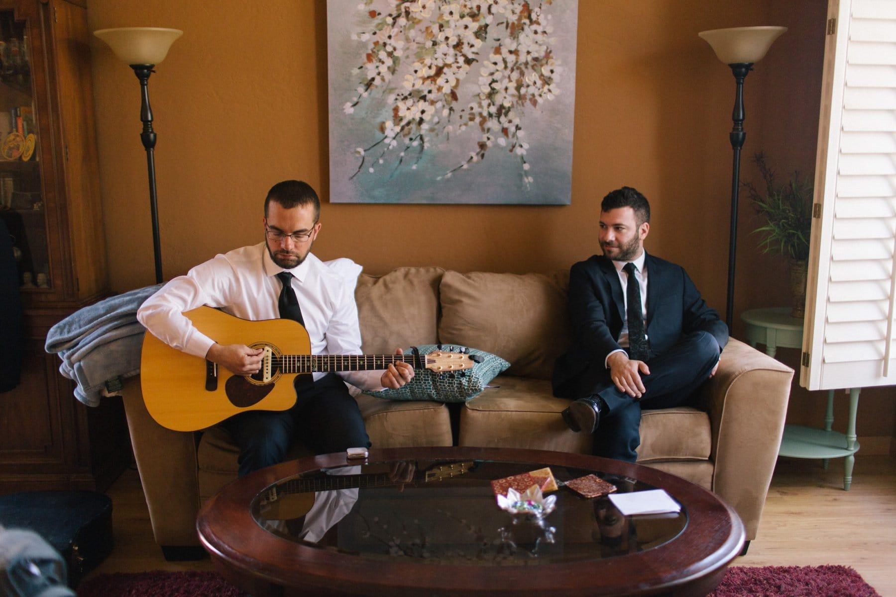 pre-wedding guitar playing by groomsmen getting ready Arizona wedding
