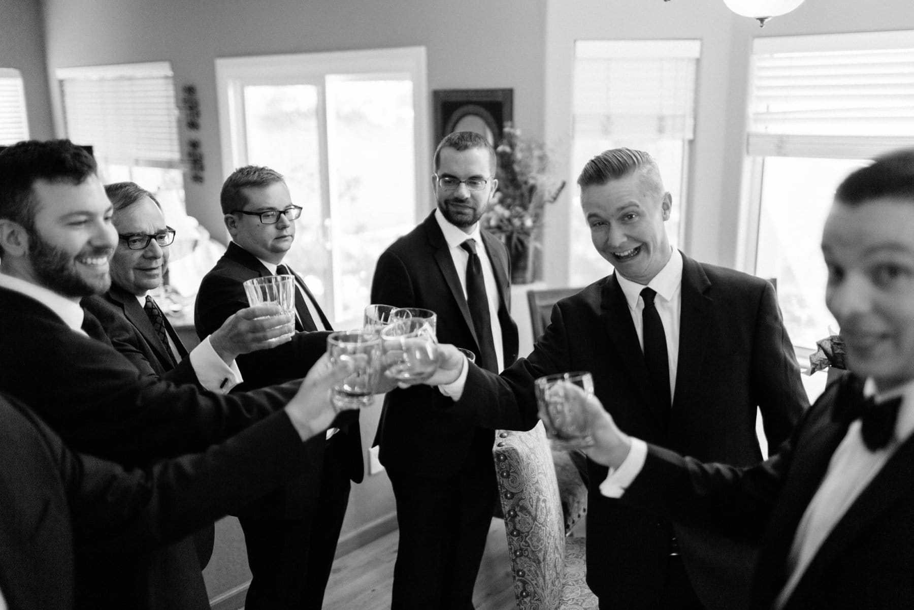 goofy groomsmen pre-wedding drink Arizona wedding photographer