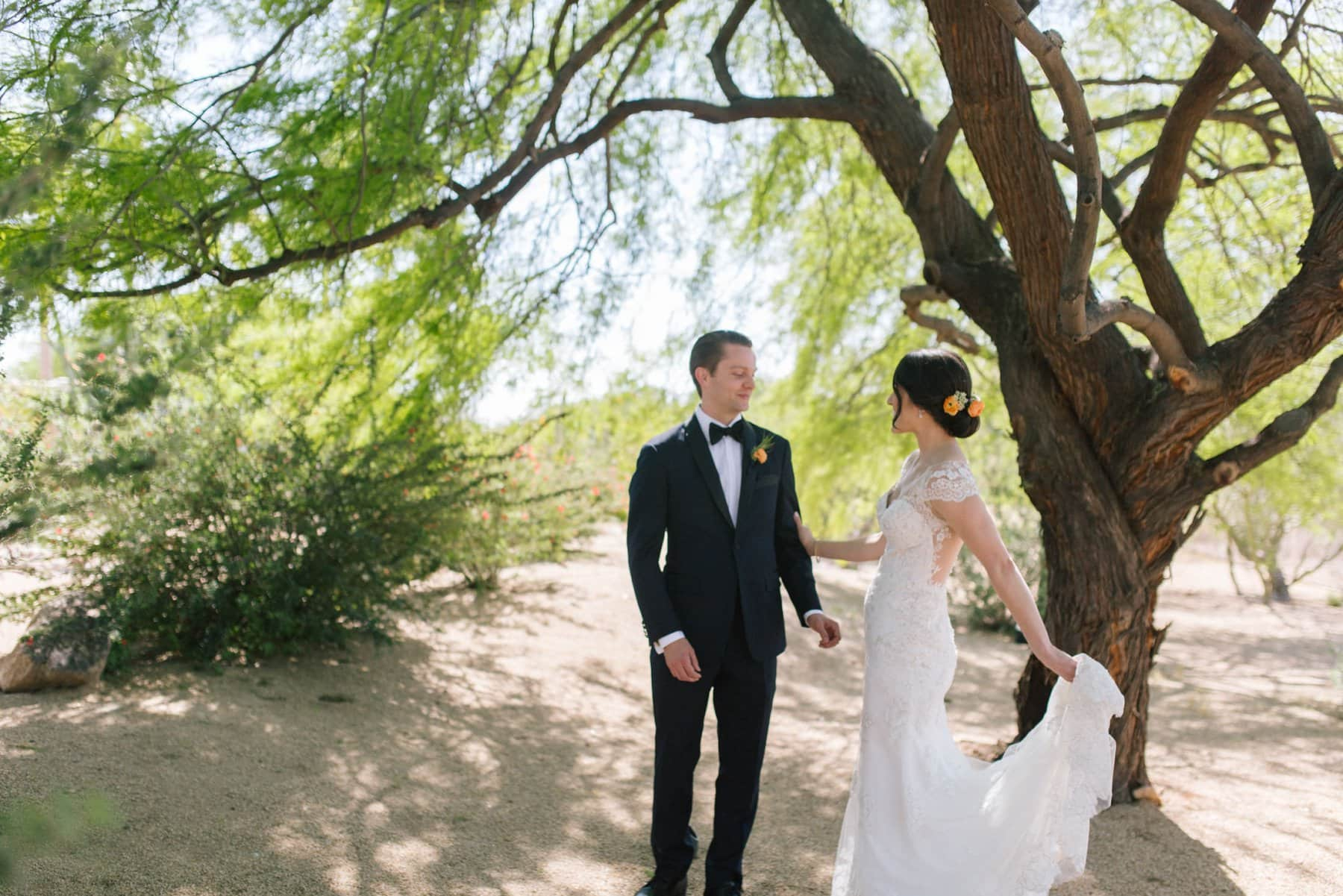 bride & groom first look Scottsdale wedding photos