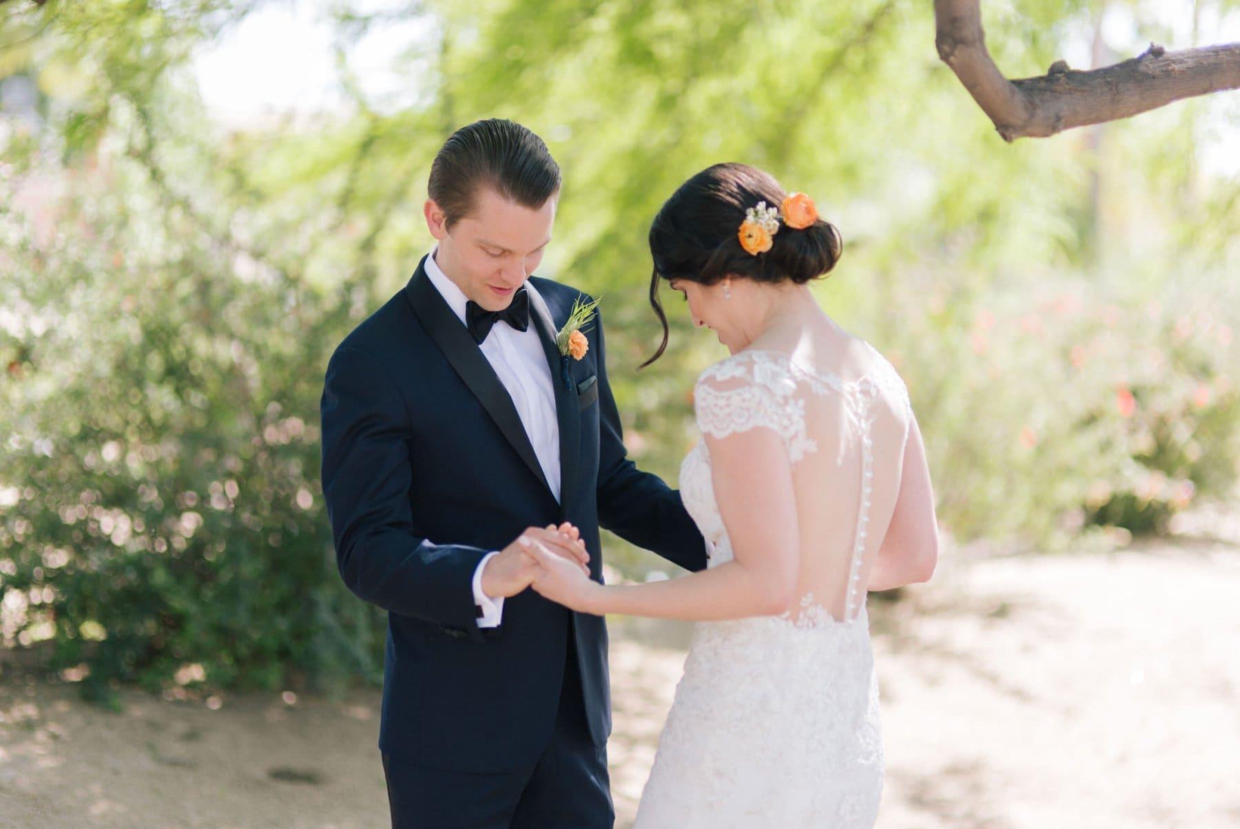 bride and groom first look classy wedding Scottsdale AZ