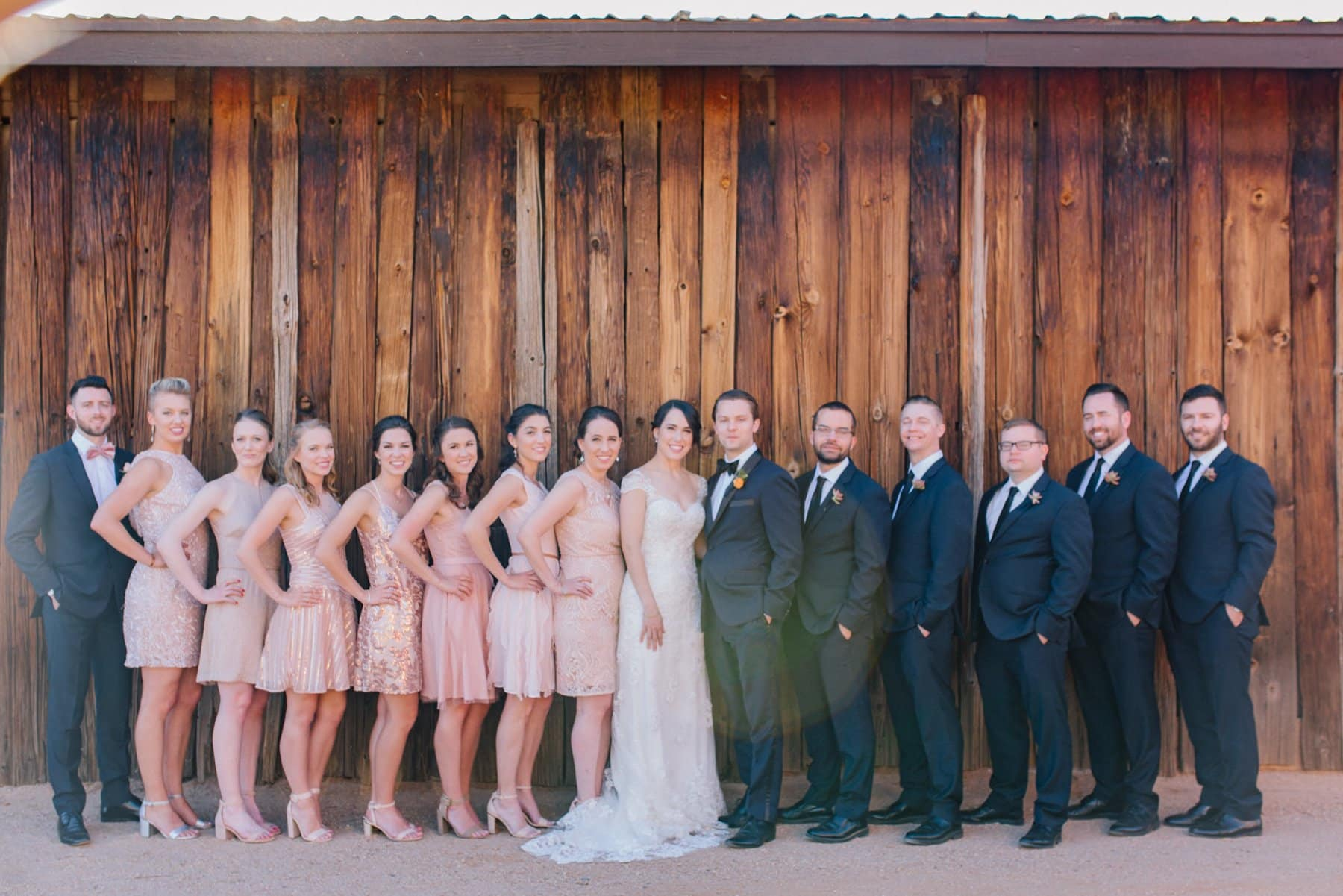 Desert Foothills wedding barn wedding party