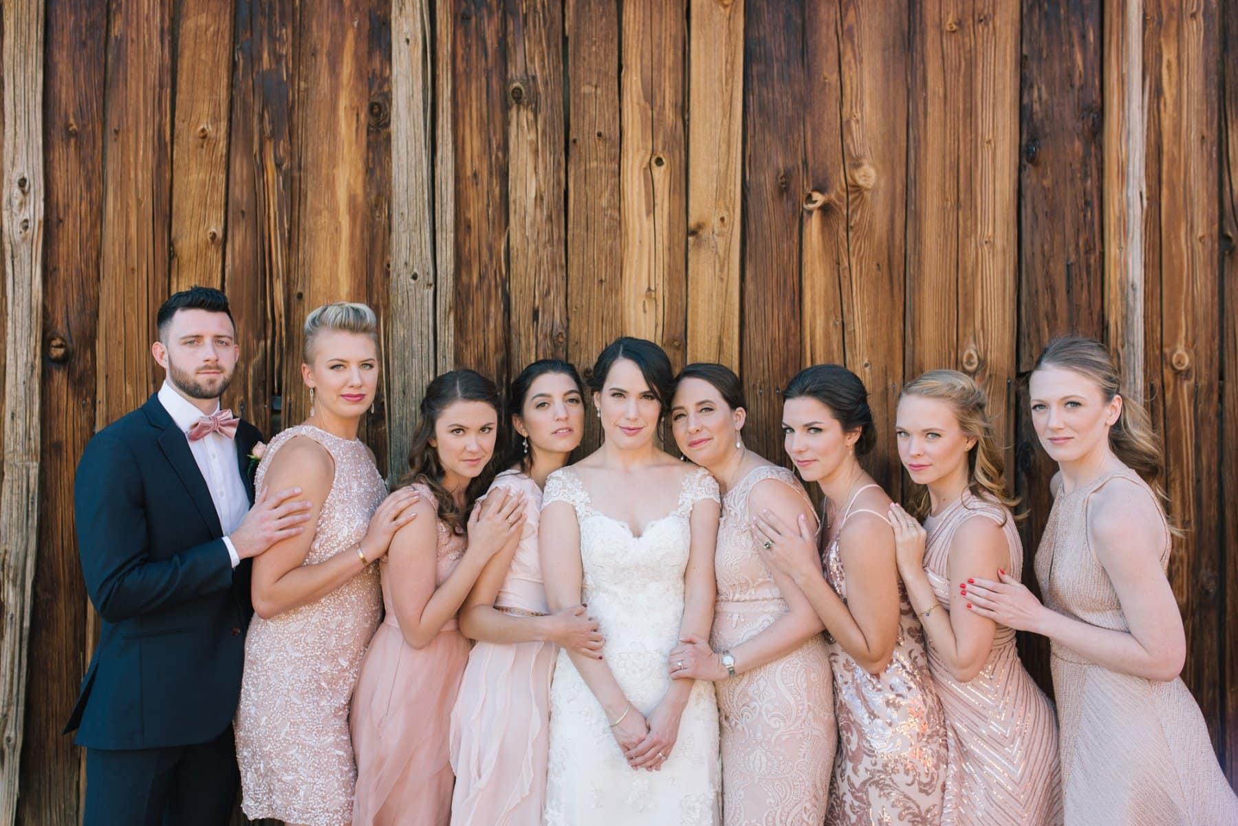Desert Foothills wedding party pink bridesmaids dresses and bridesman