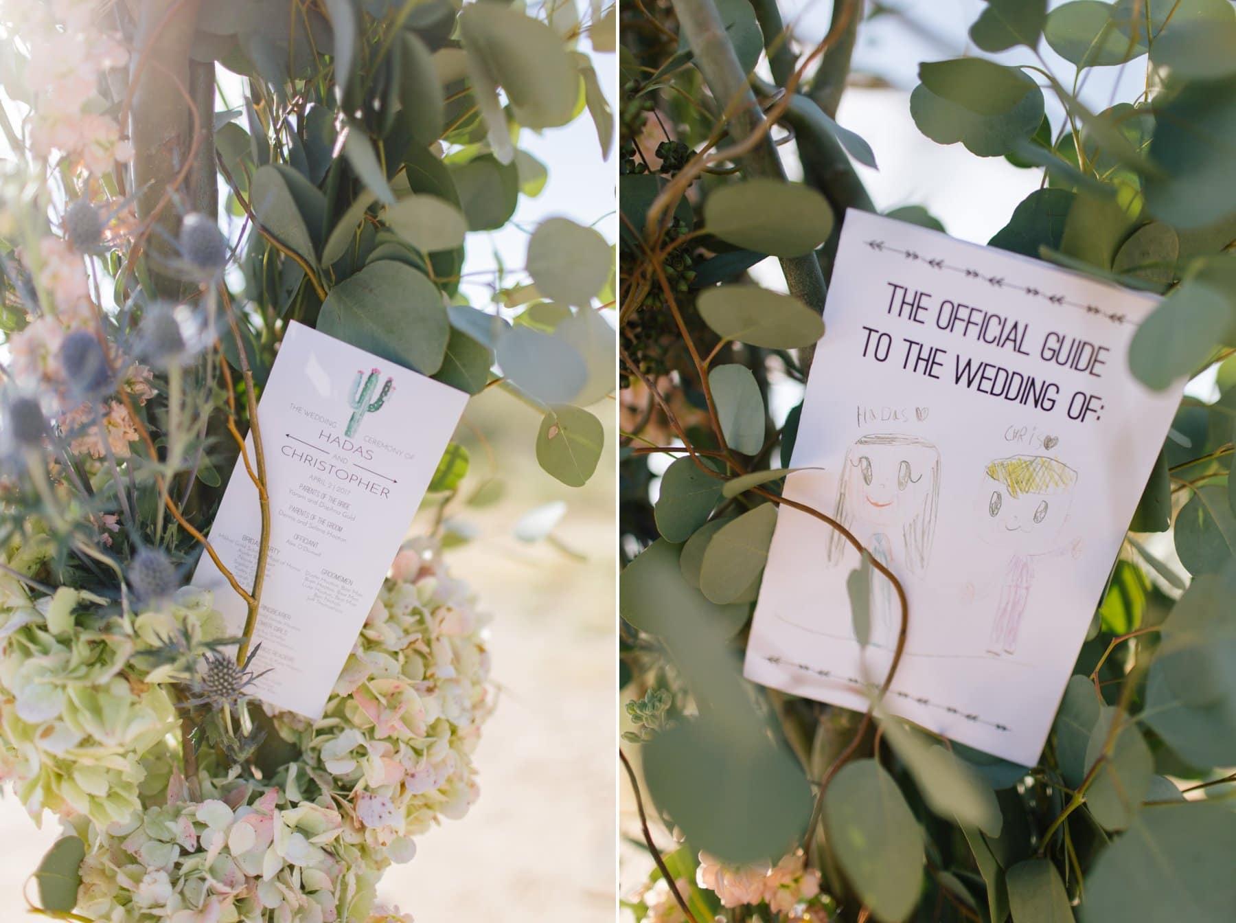 Scottsdale wedding program in flowers at Desert Foothills Event Center