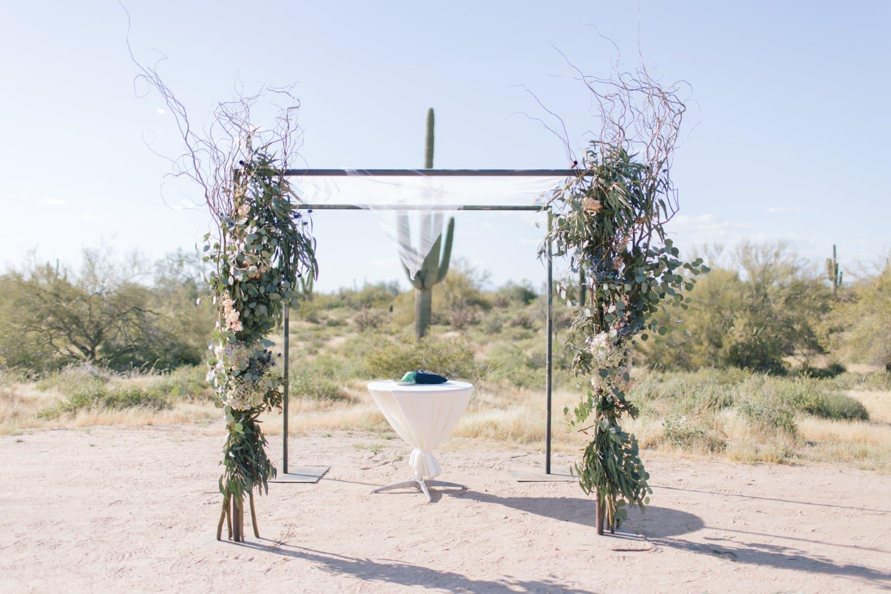 Desert Foothills Barn wedding outdoor desert wedding ceremony chuppah