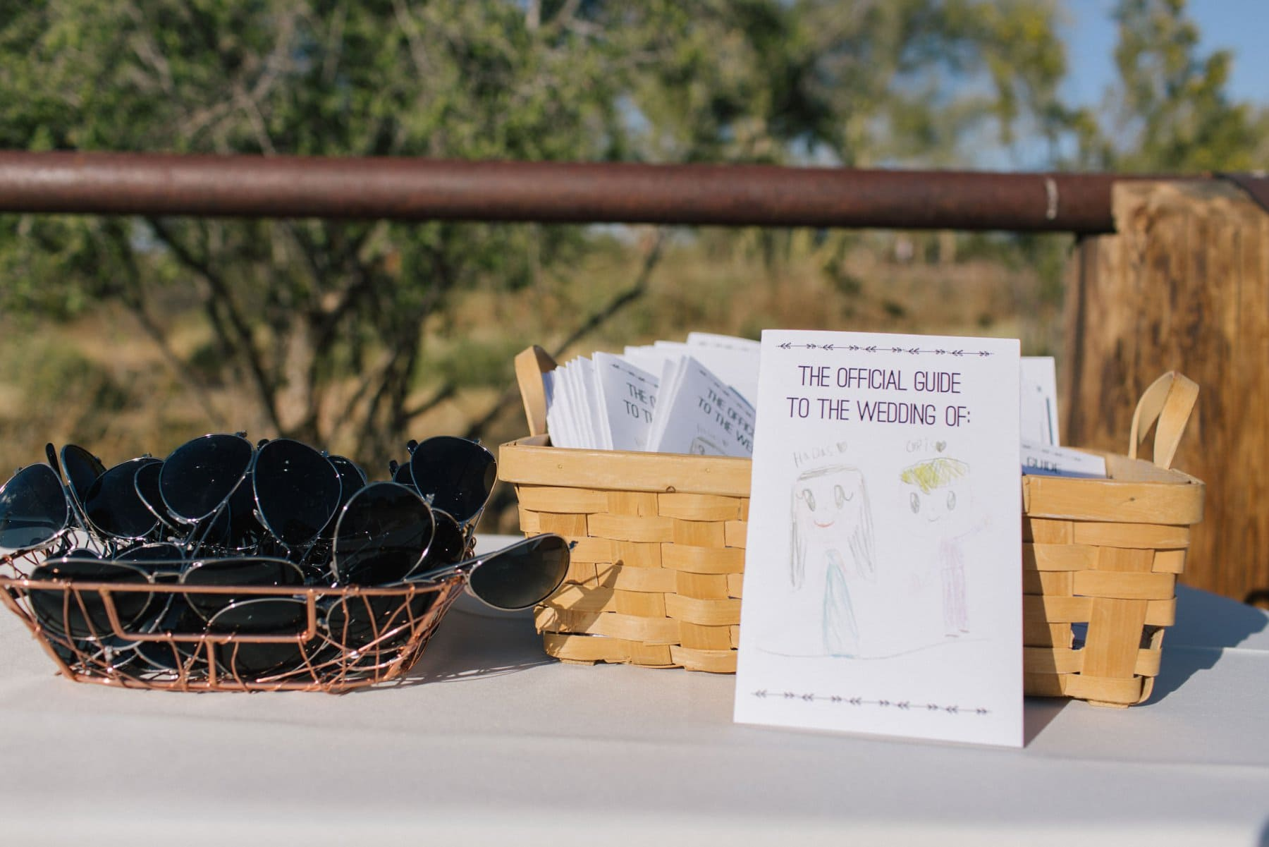 Scottsdale wedding programs with hand drawn kids illustration and sunglasses