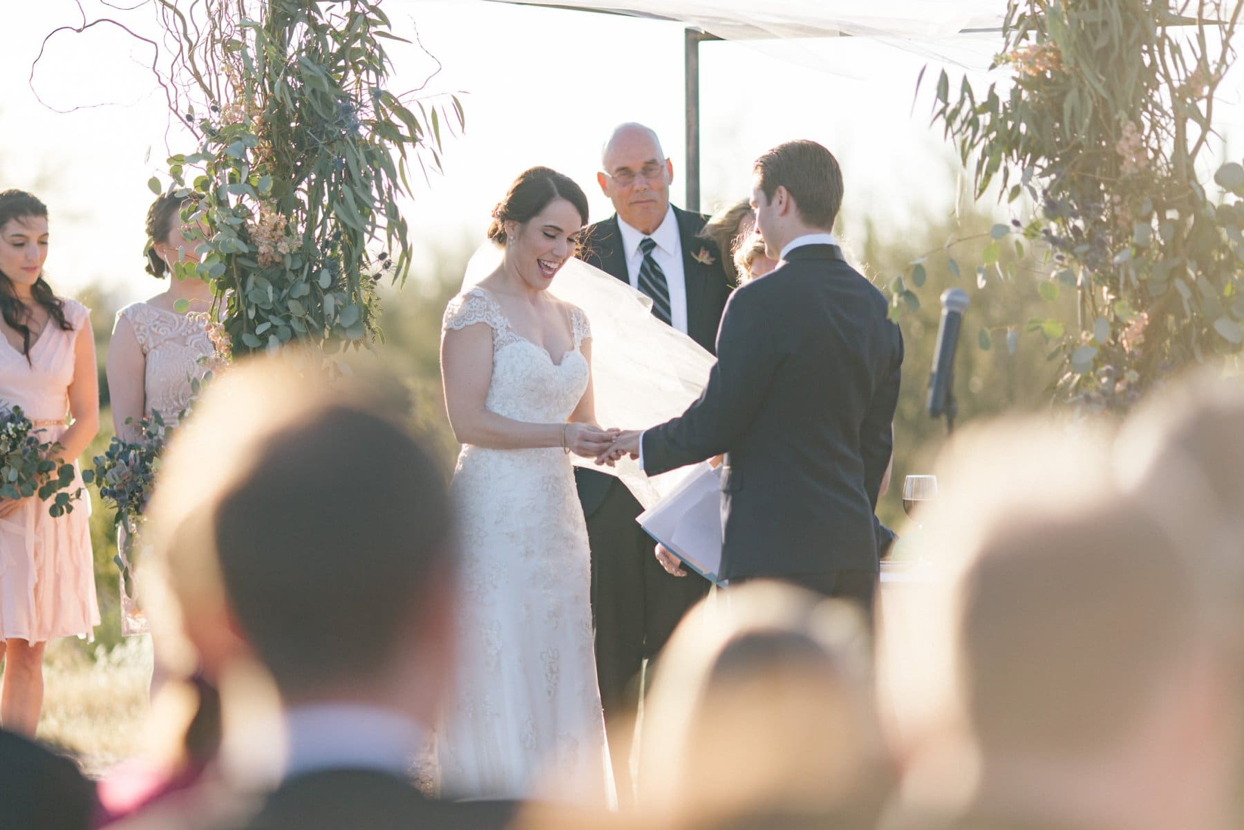wedding ceremony outdoors at Desert Foothills barn wedding