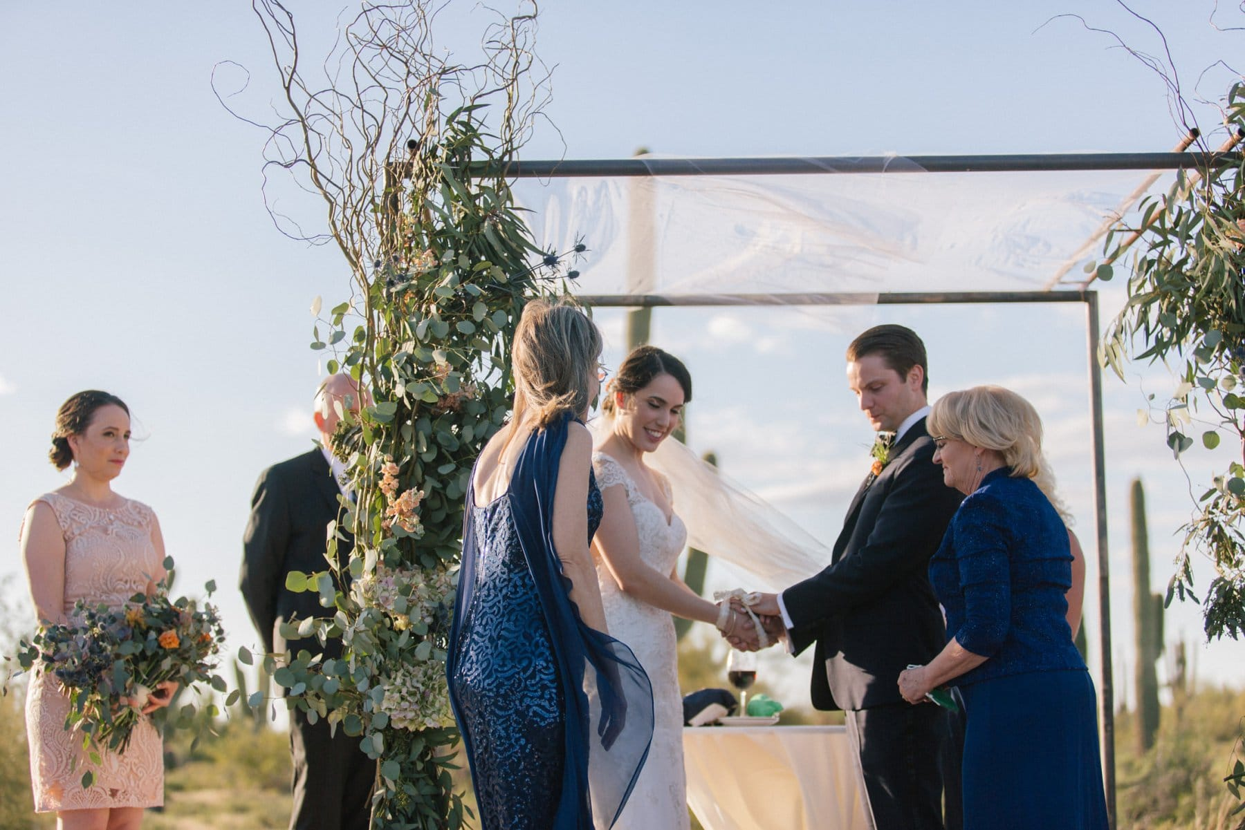 Irish handfasting outdoor desert ceremony at Desert Foothills barn Scottsdale AZ
