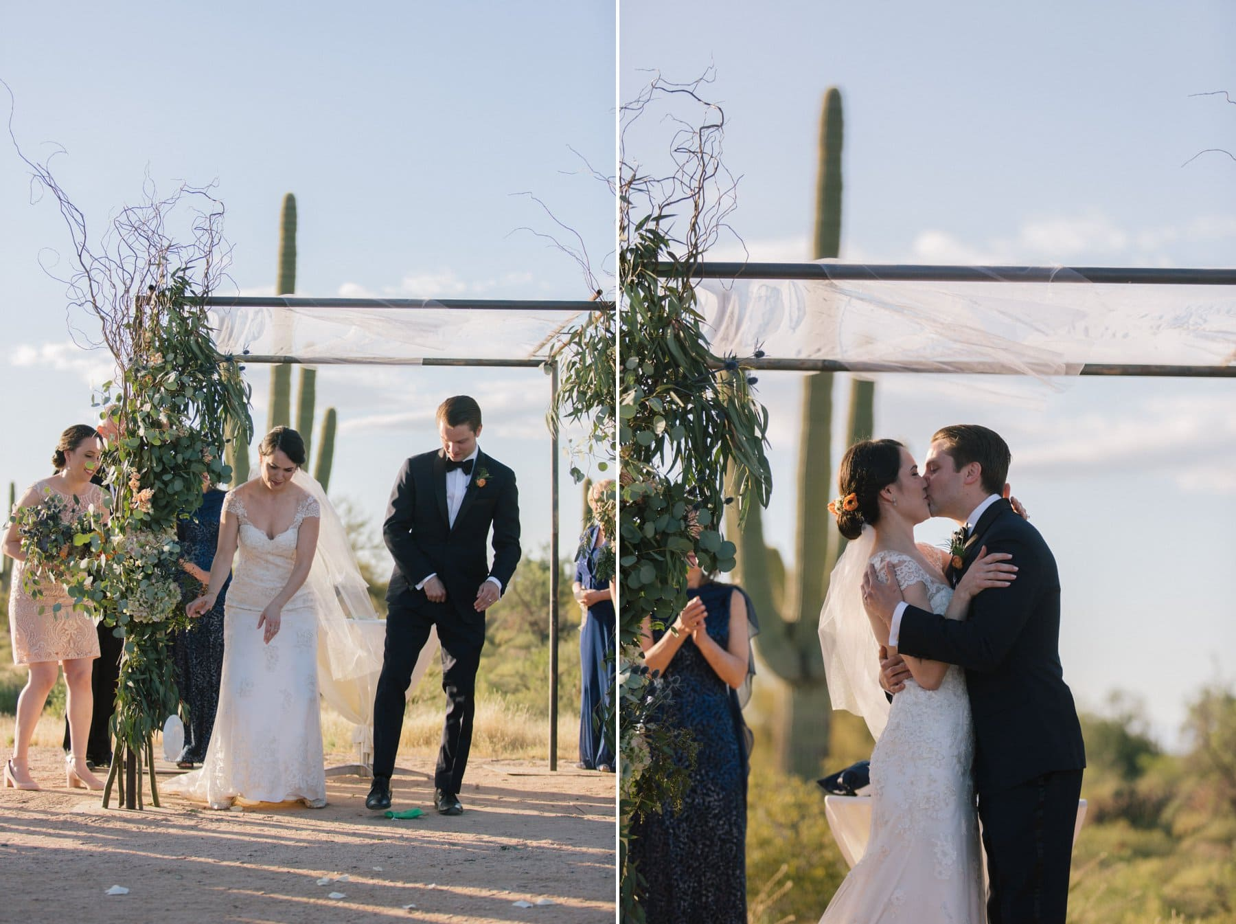 breaking of the glass and first kiss at Desert Foothills barn wedding