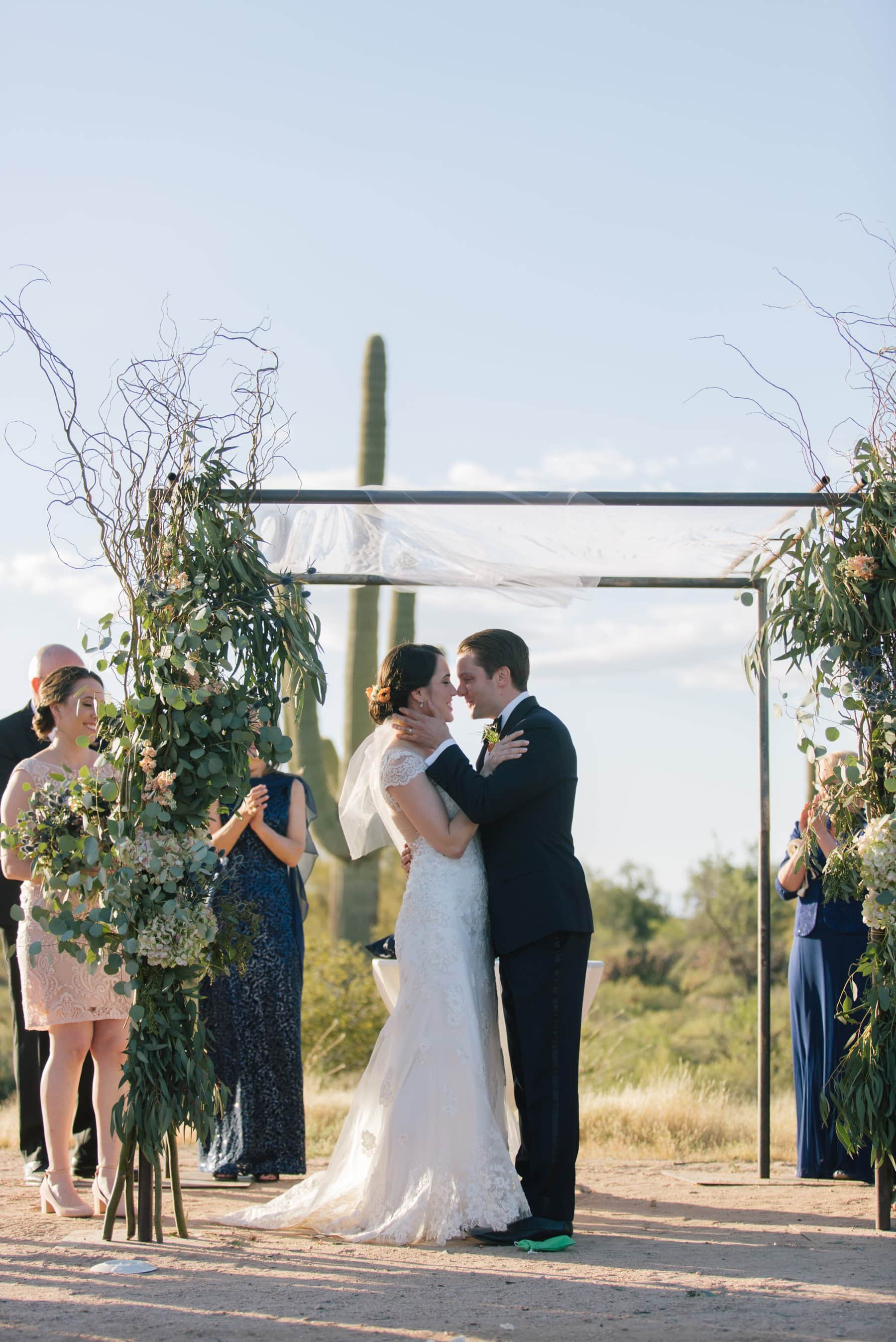 first kiss Scottsdale Desert Foothills barn wedding